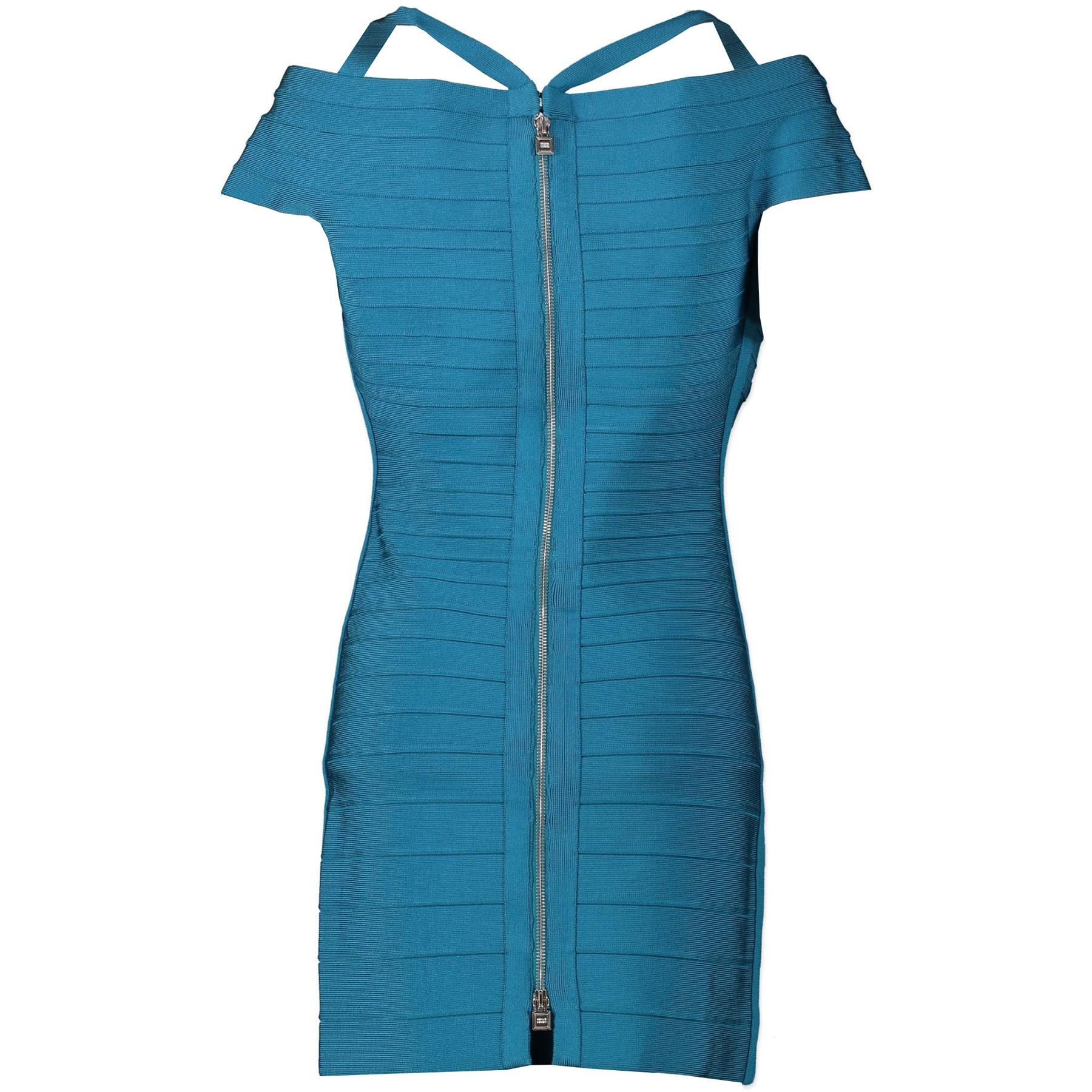 Herve Leger Turquoise Kelis Off-Shoulder Bandage Dress