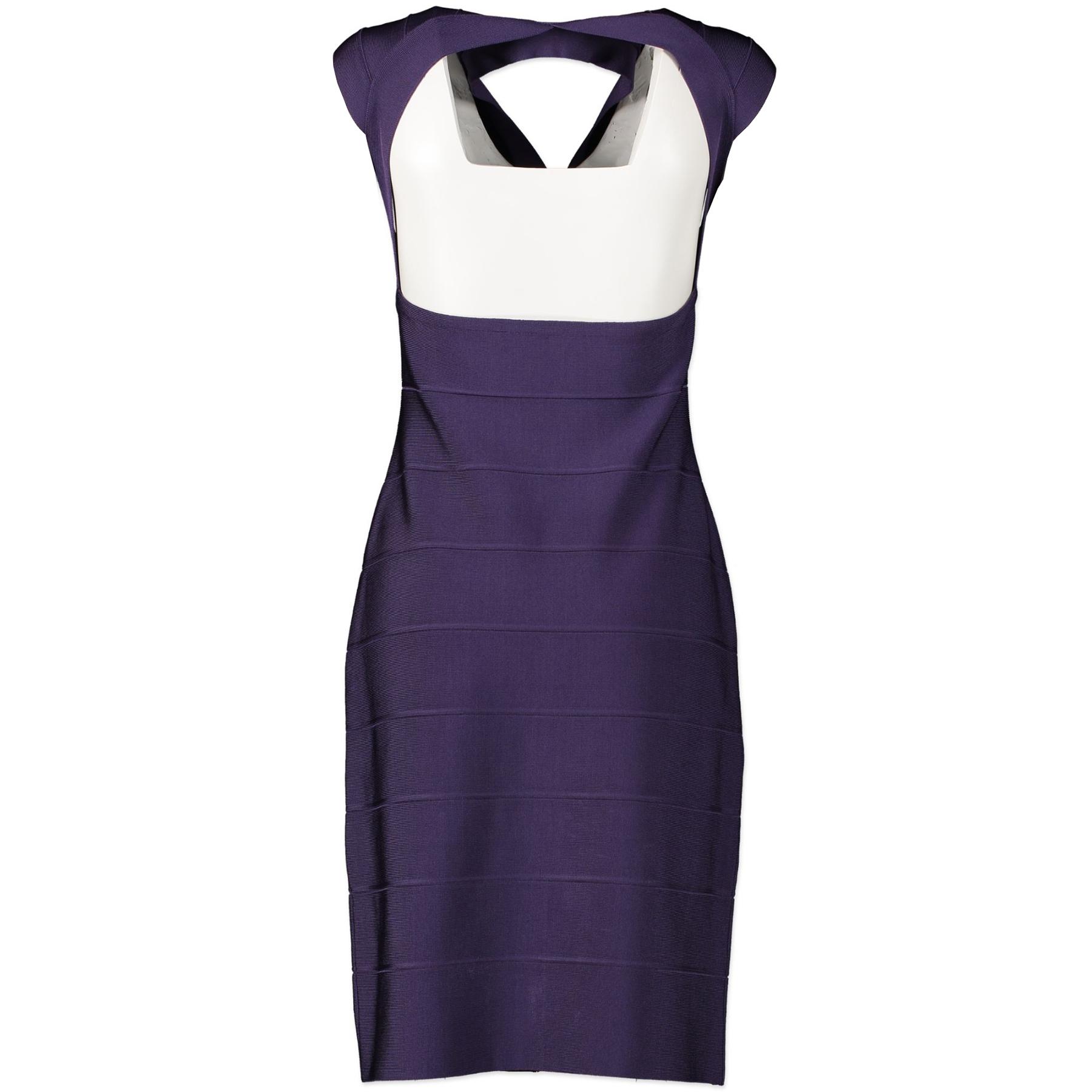 Herve Leger Purple Zip Front V-Neck Bandage Dress available for the best price at Labellov secondhand vintage luxury designer store