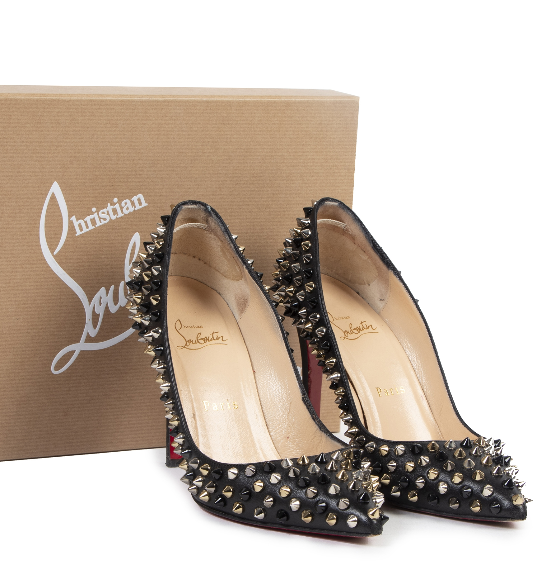 Christian Louboutin Pigalle Spike 100 Black Nappa Pumps
