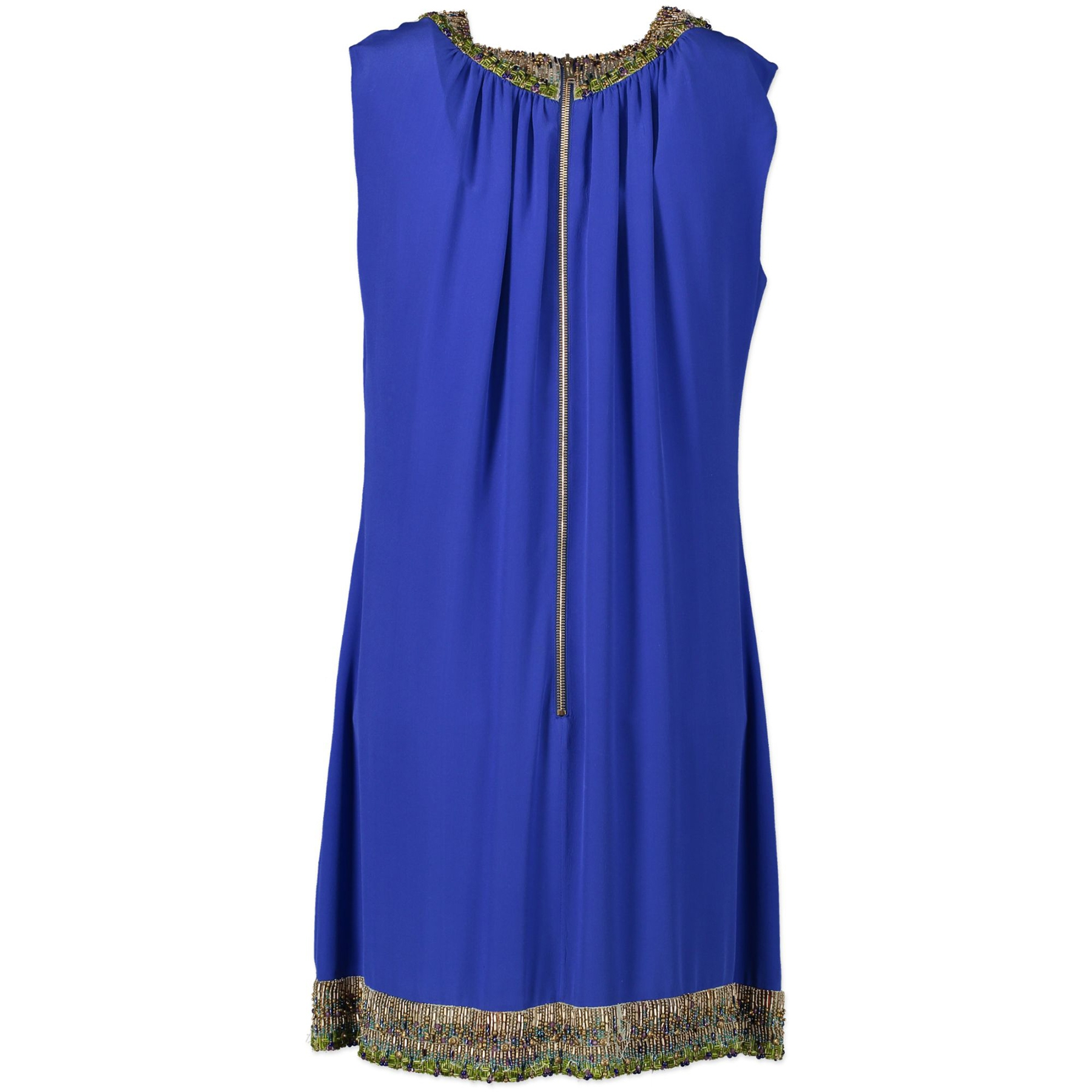 Authentic Secondhand Matthew Williamson Cobalt Blue Beaded Silk Dress - Size 44