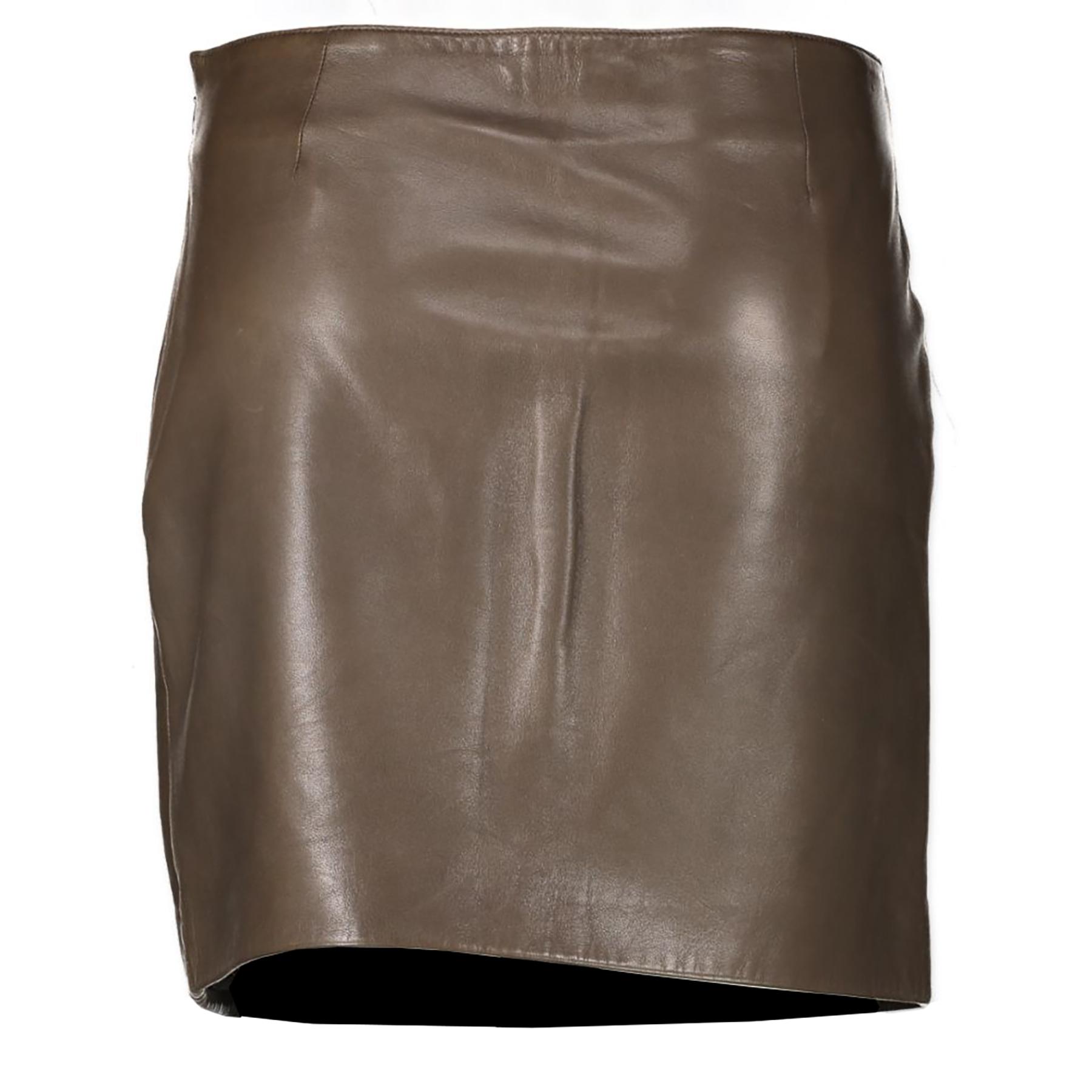 Authentieke Tweedehands Prada Brown Leather Animal Print Skirt - Size 42 juiste prijs veilig online shoppen luxe merken webshop winkelen Antwerpen België mode fashion