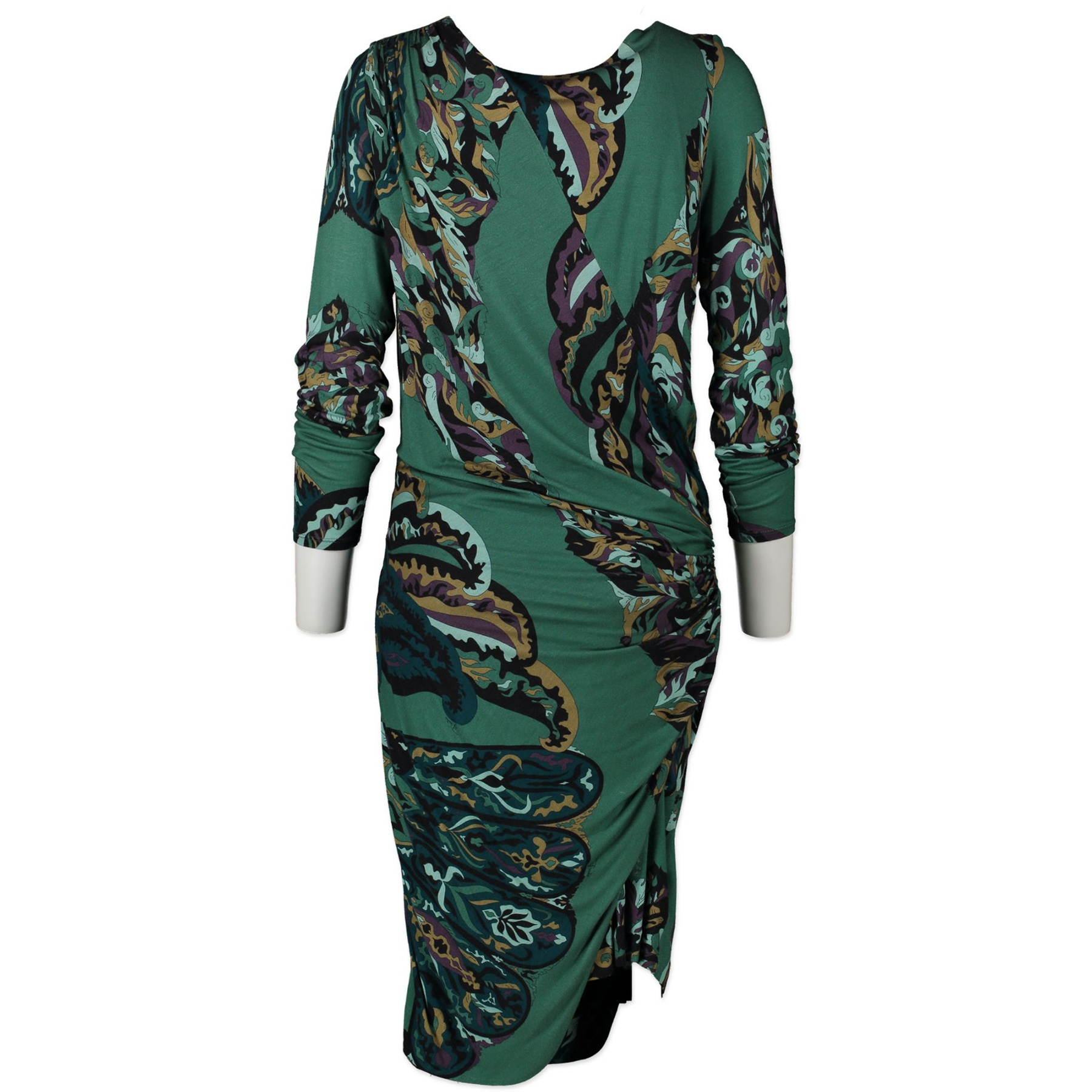Authentieke Tweedehands Pucci Green Blue Wrap Dress - Size 42 juiste prijs veilig online shoppen luxe merken webshop winkelen Antwerpen België mode fashion wrap jurken kleedjes