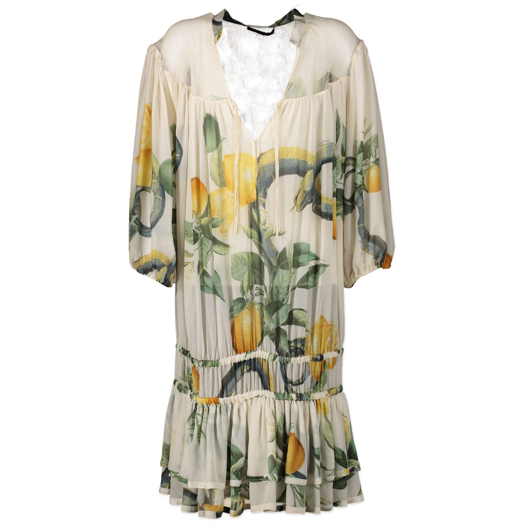 Authentieke tweedehands vintage Roberto Cavalli Lemon Dress - Size S koop online webshop LabelLOV