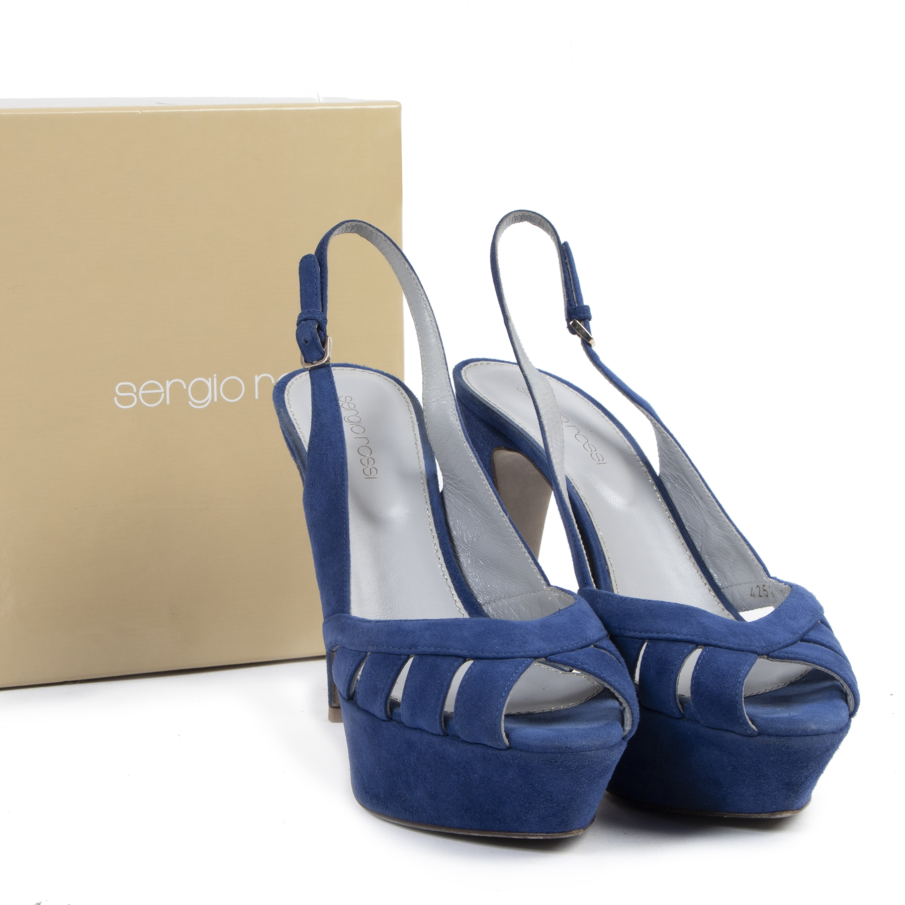Authentique seconde-main vintage Sergio Rossi Cobalt Blue Platform Sandals - Size 37 achète en ligne webshop LabelLOV
