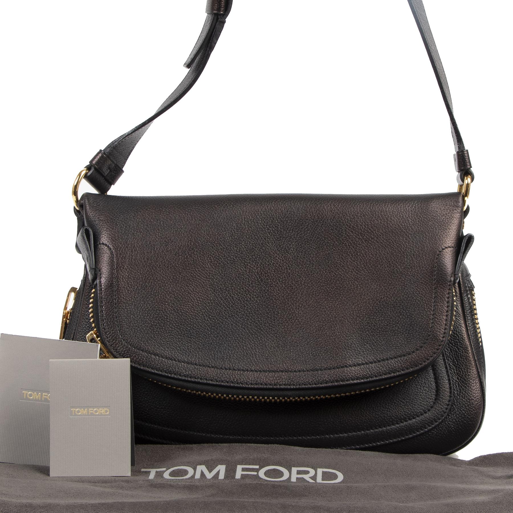Authentieke tweedehands vintage Tom Ford Jennifer Black Leather Medium Crossbody Bag koop online webshop LabelLOV