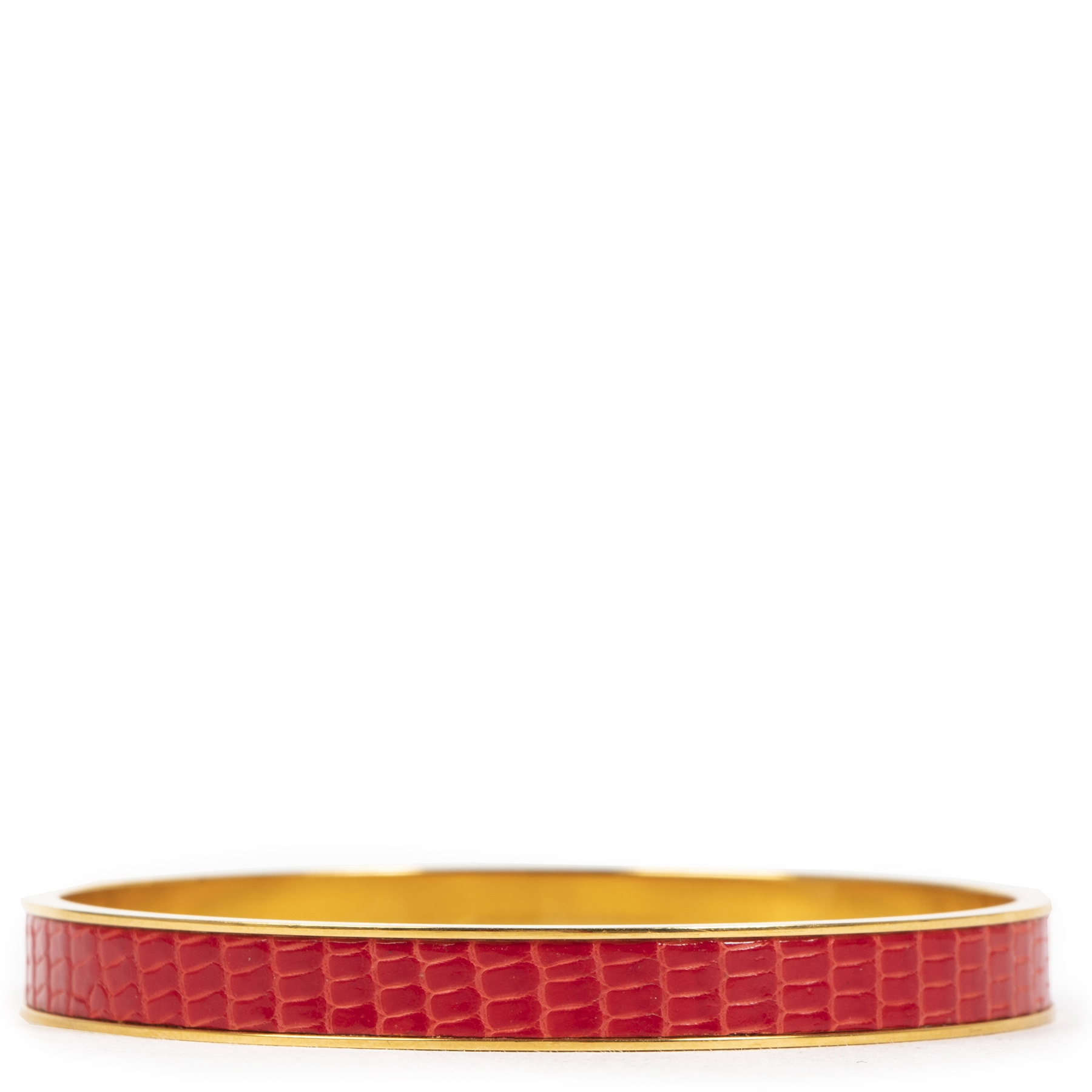 Authentieke tweedehands vintage Hermès Kelly Crocodile Bangle koop online webshop LabelLOV