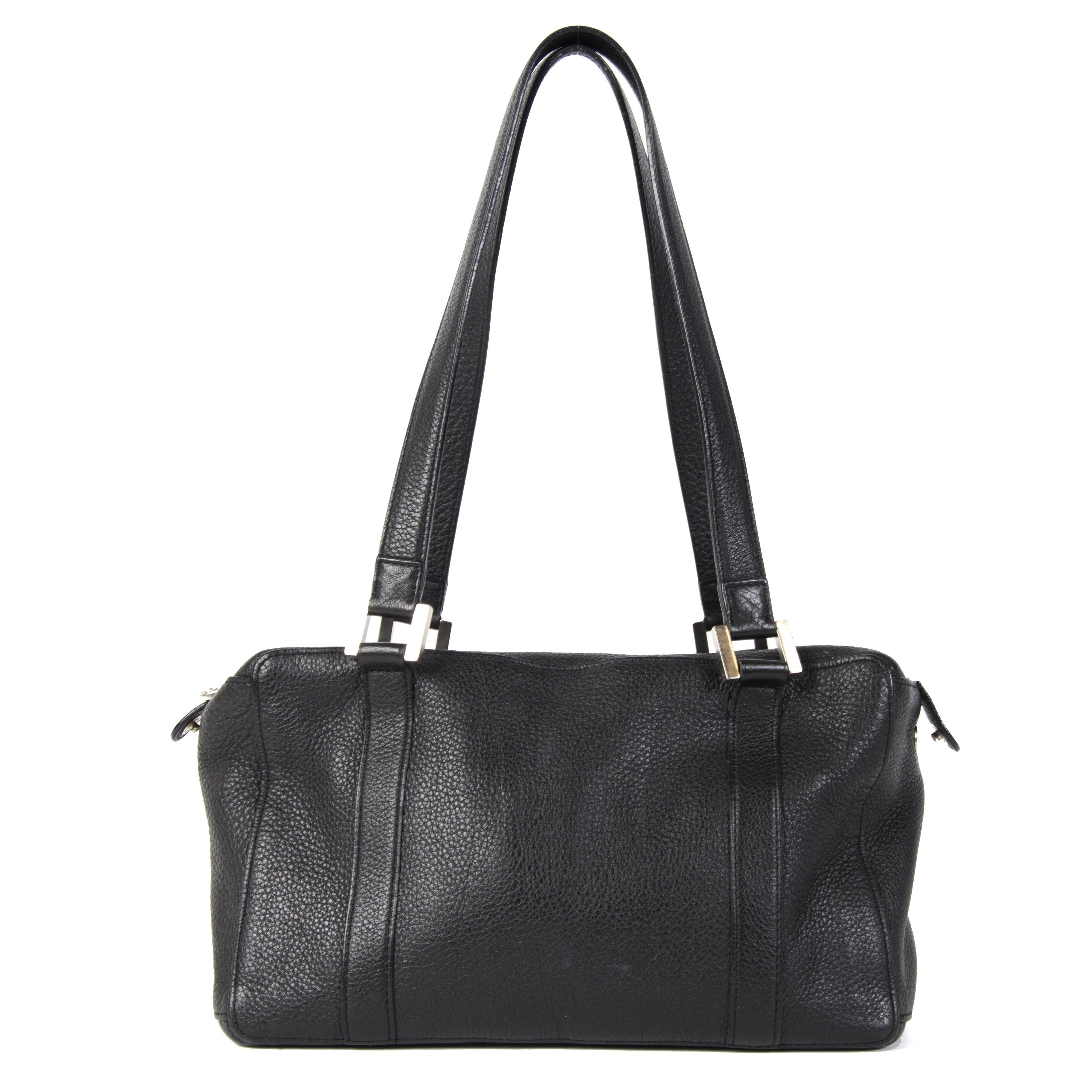 Authentieke Tweedehands Delvaux Black Leather Front Pockets Shoulder Bag juiste prijs veilig online shoppen luxe merken webshop winkelen Antwerpen België mode fashion