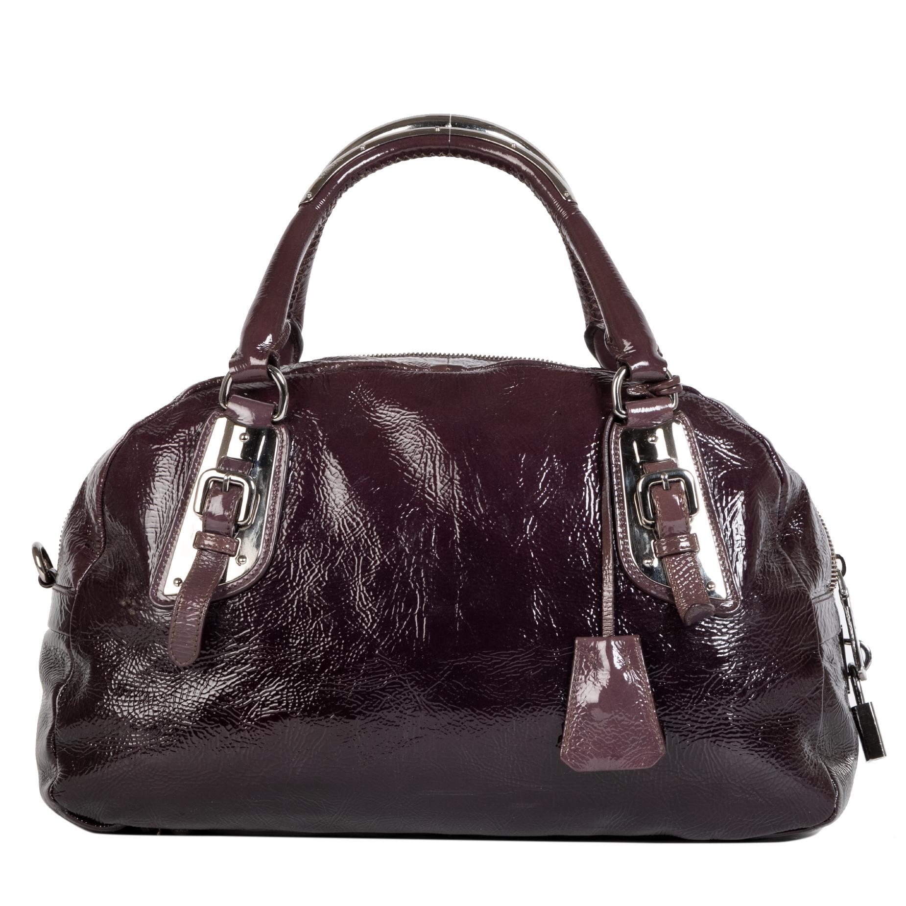 Authentic secondhand Prada Patent Leather Bowler Bag designer bags luxury vintage webshop designer brands fashion safe secure online shopping worldwide shipping