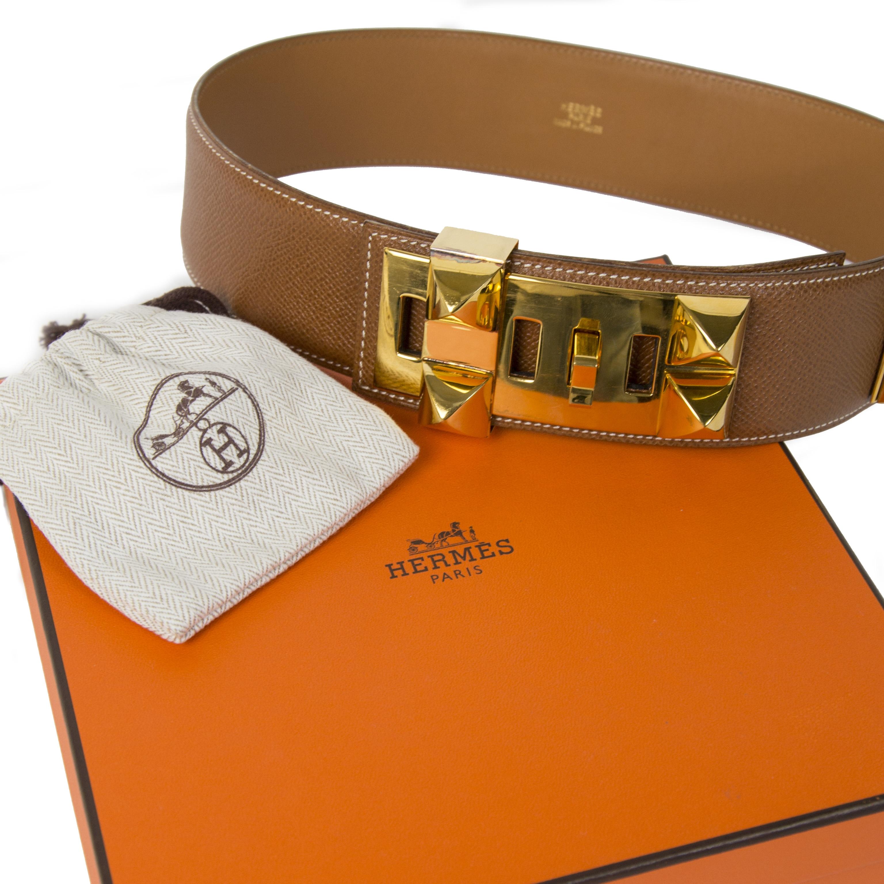 Hermès Cognac Gold Collier de Chien Belt kopen en verkopen aan de beste prijs bij Labellov tweedehands luxe in Antwerpen