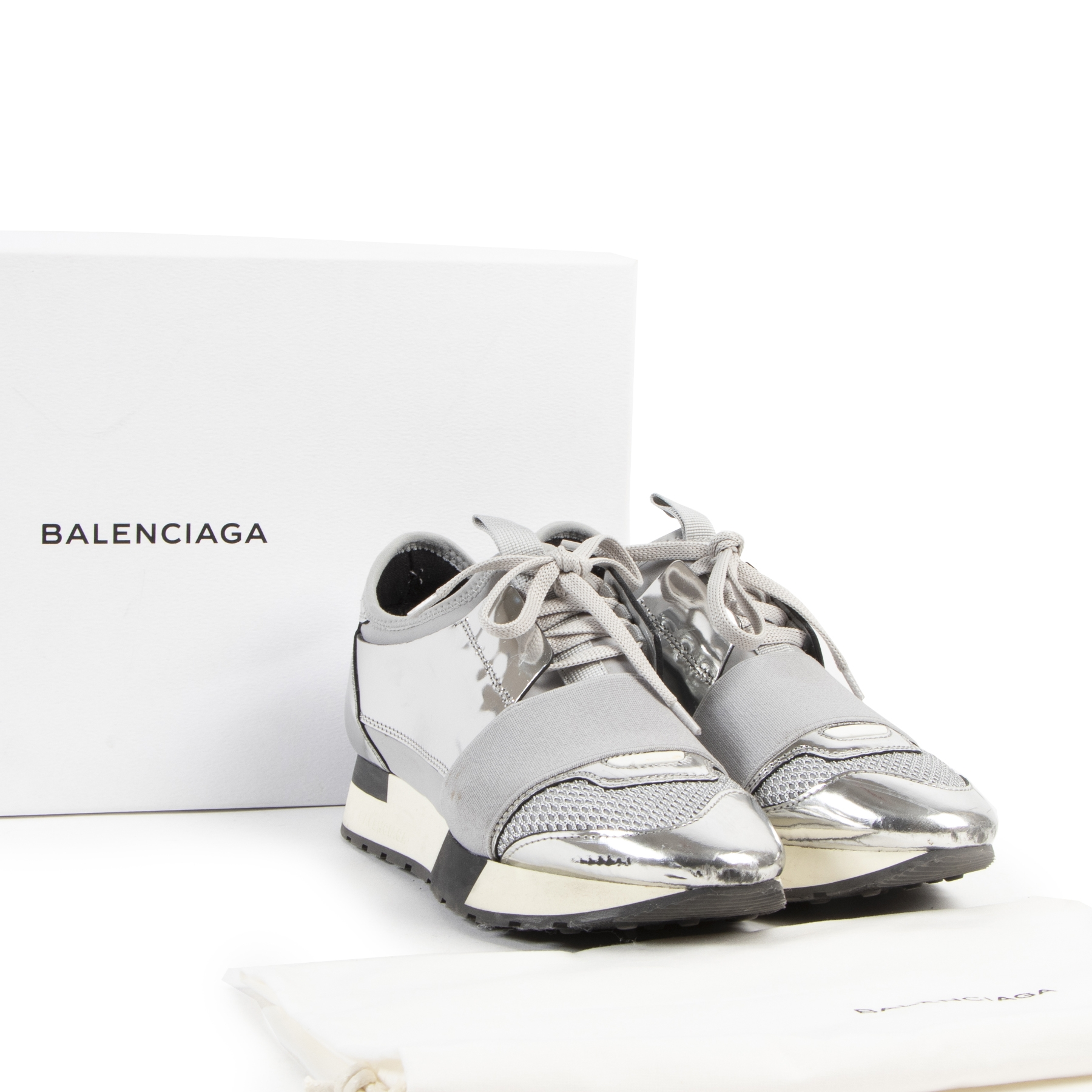 Balenciaga Race Runner Silver Sneakers - size 35 - for sale