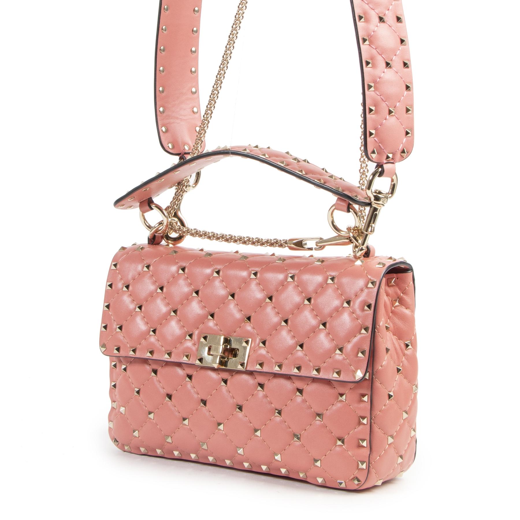 Authentieke Tweedehands Valentino Pink Rockstud Spike Shoulder Bag juiste prijs veilig online shoppen luxe merken webshop winkelen Antwerpen België mode fashion