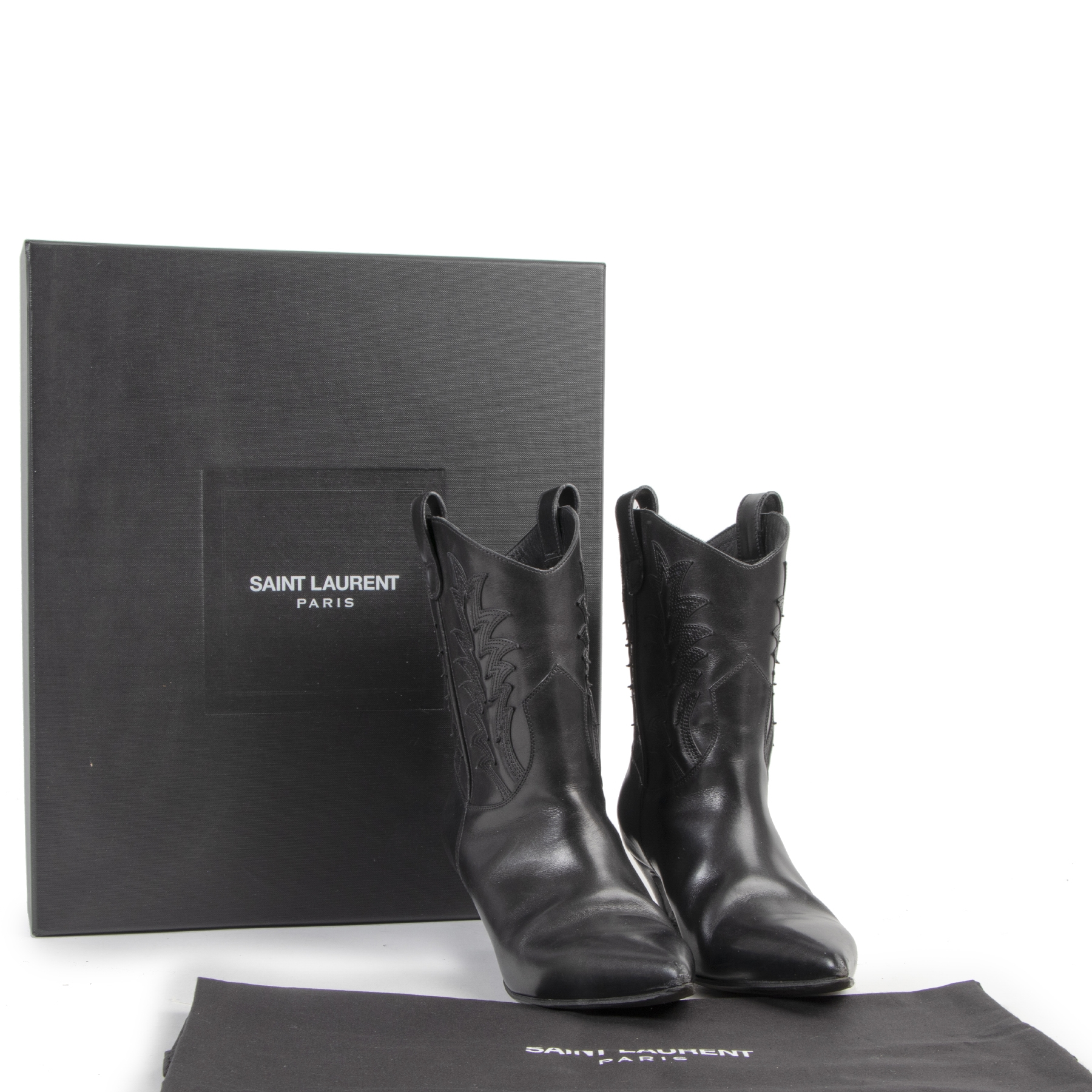 Saint Laurent Black Western Kitten Heeled Boots