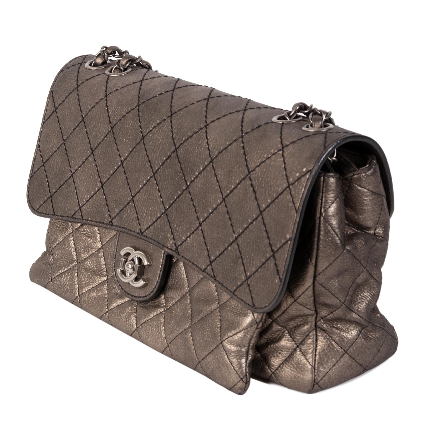koop veilig online tegen de beste prijs Chanel Bronze Metallic Quilted Leather Flap Bag