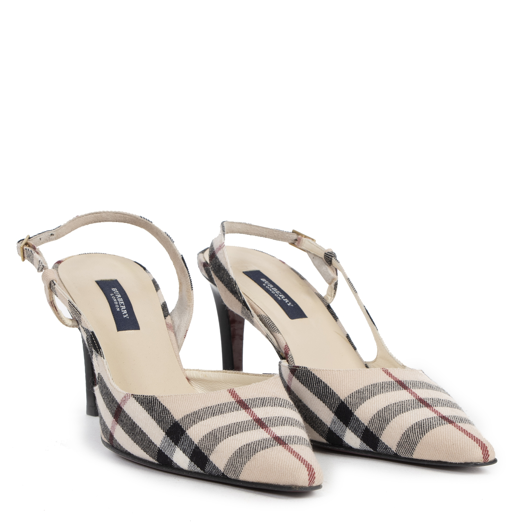 Authentic secondhand Burberry Nova Check Slingback Pumps - Size 39,5 designer shoes high heels luxury vintage webshop fashion safe secure online shopping