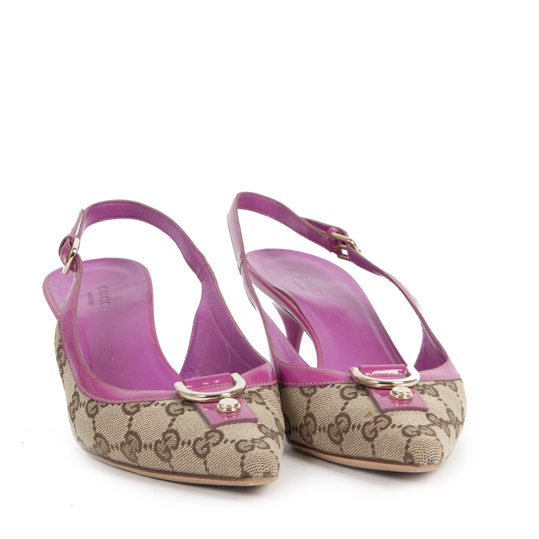Authentic secondhand Gucci Monogram Pink Kitten Heels - Size 38 best price designer high heels shoes luxury vintage webshop fashion safe secure online shopping worldwide shipping