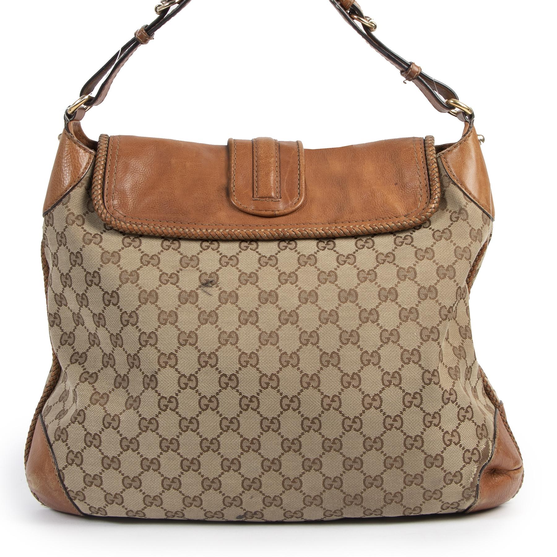 Authentieke Tweedehands Gucci Monogram Canvas Marrakech Bag juiste prijs veilig online shoppen luxe merken webshop winkelen Antwerpen België mode fashion