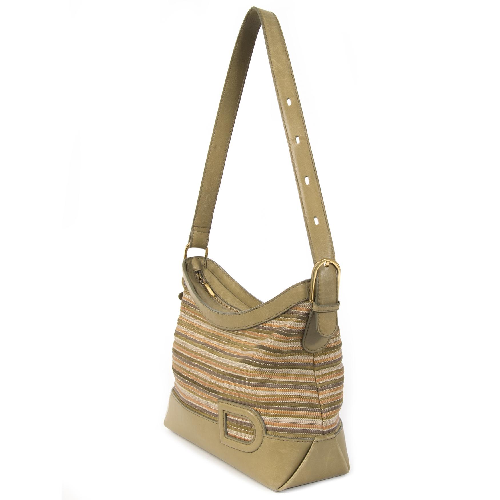 Authentieke Tweedehands Delvaux Multicolor Toile de Cuir Shoulder Bag juiste prijs veilig online shoppen luxe merken webshop winkelen Antwerpen België mode fashion