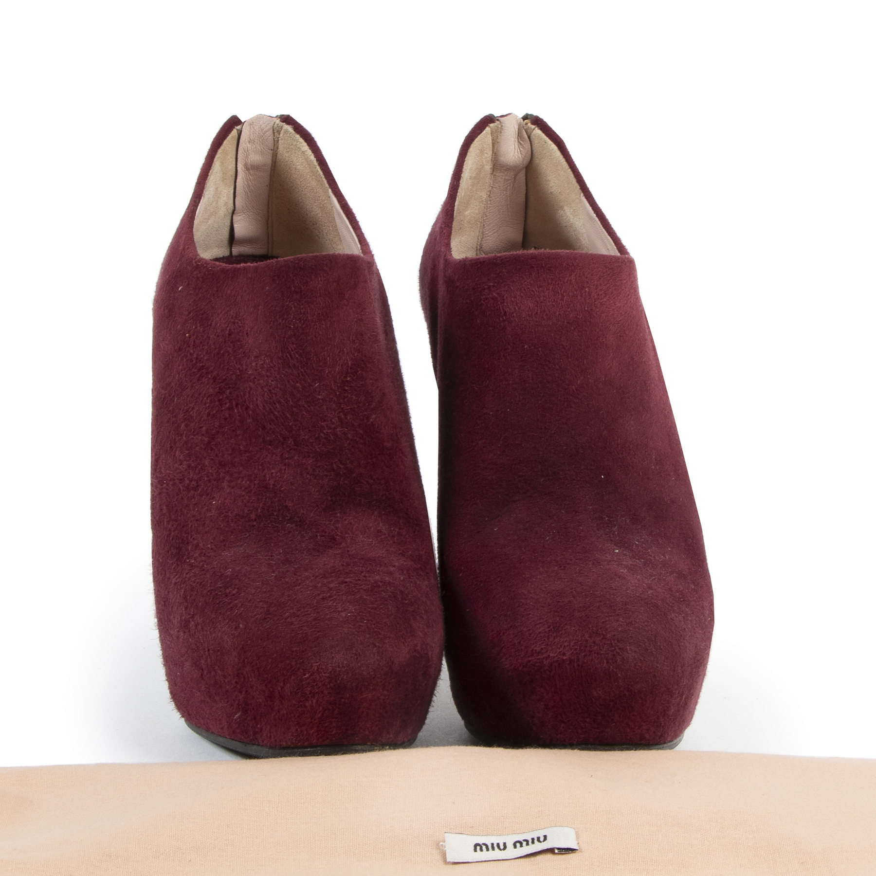Authentic secondhand Miu Miu Bordeaux Suede Ankle Booties - Size 38 designer shoes fashion luxury vintage webshop safe secure online shopping