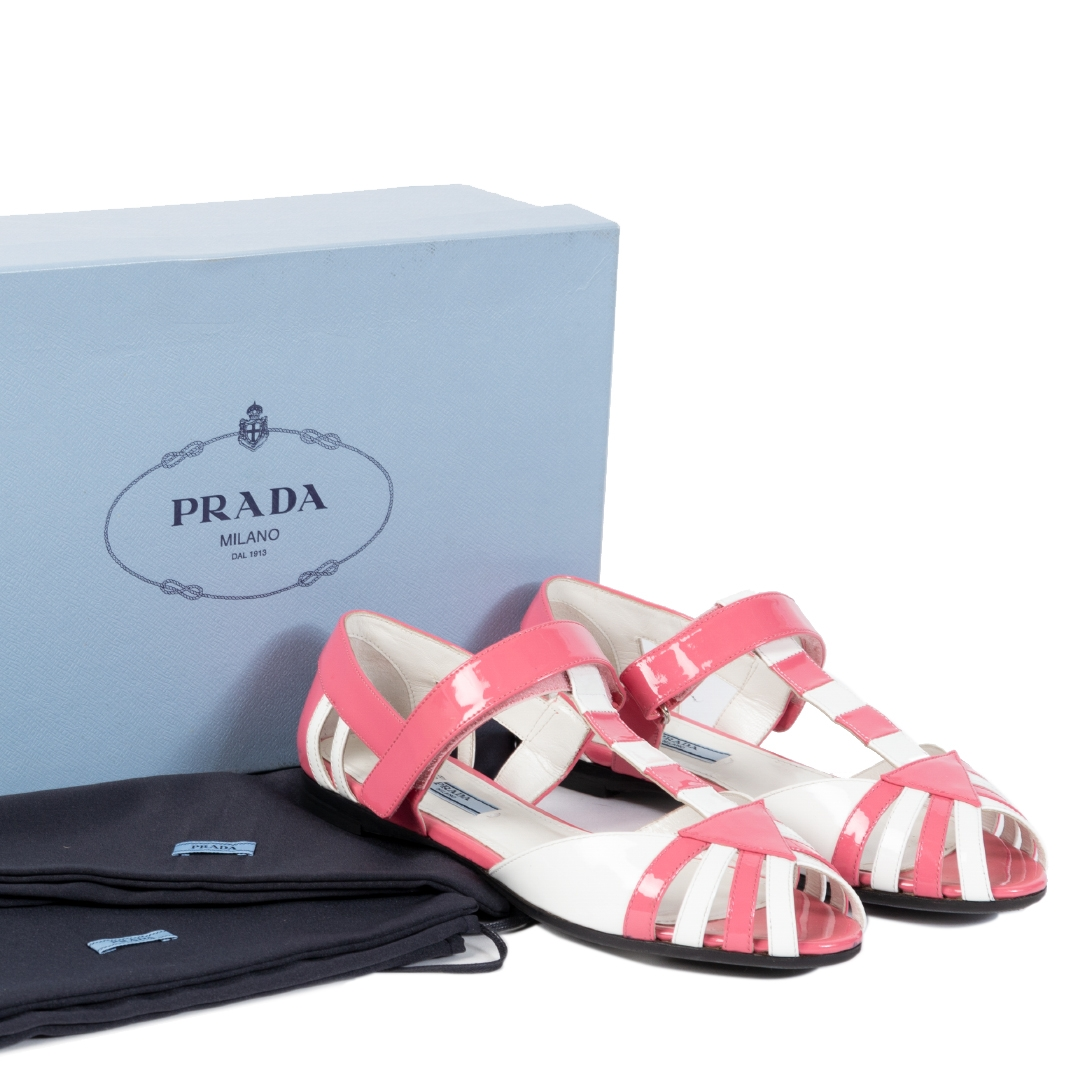 Prada Pink & White Patent Leather Sandals - Size 38