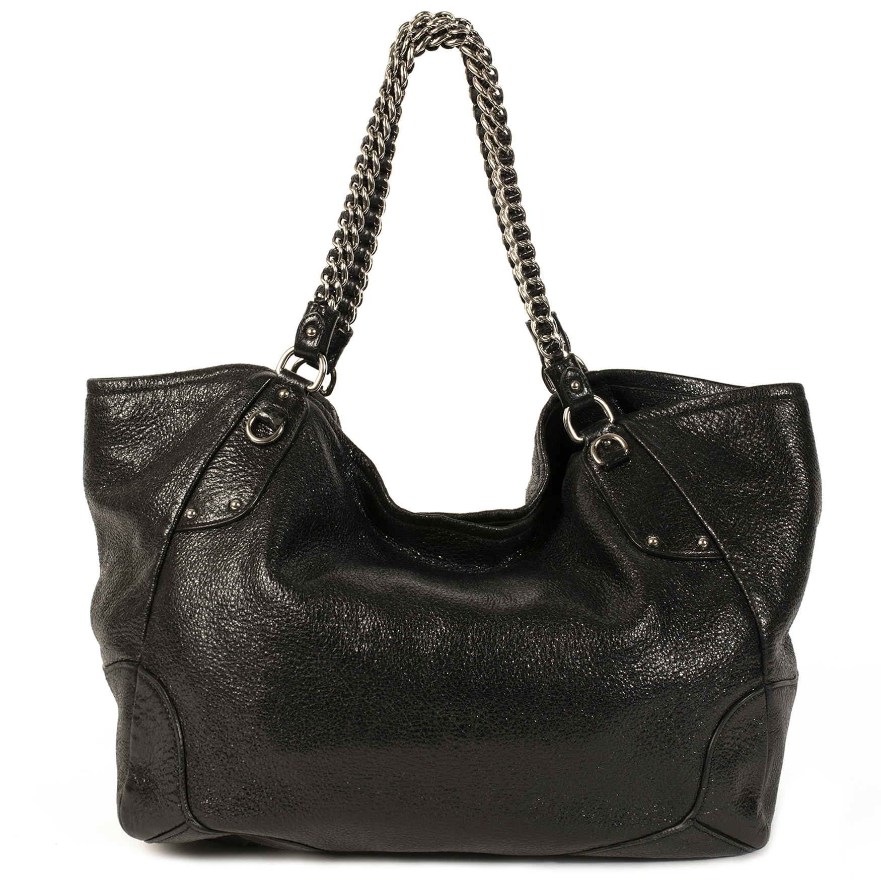 Prada Black Chain Shopper Bag