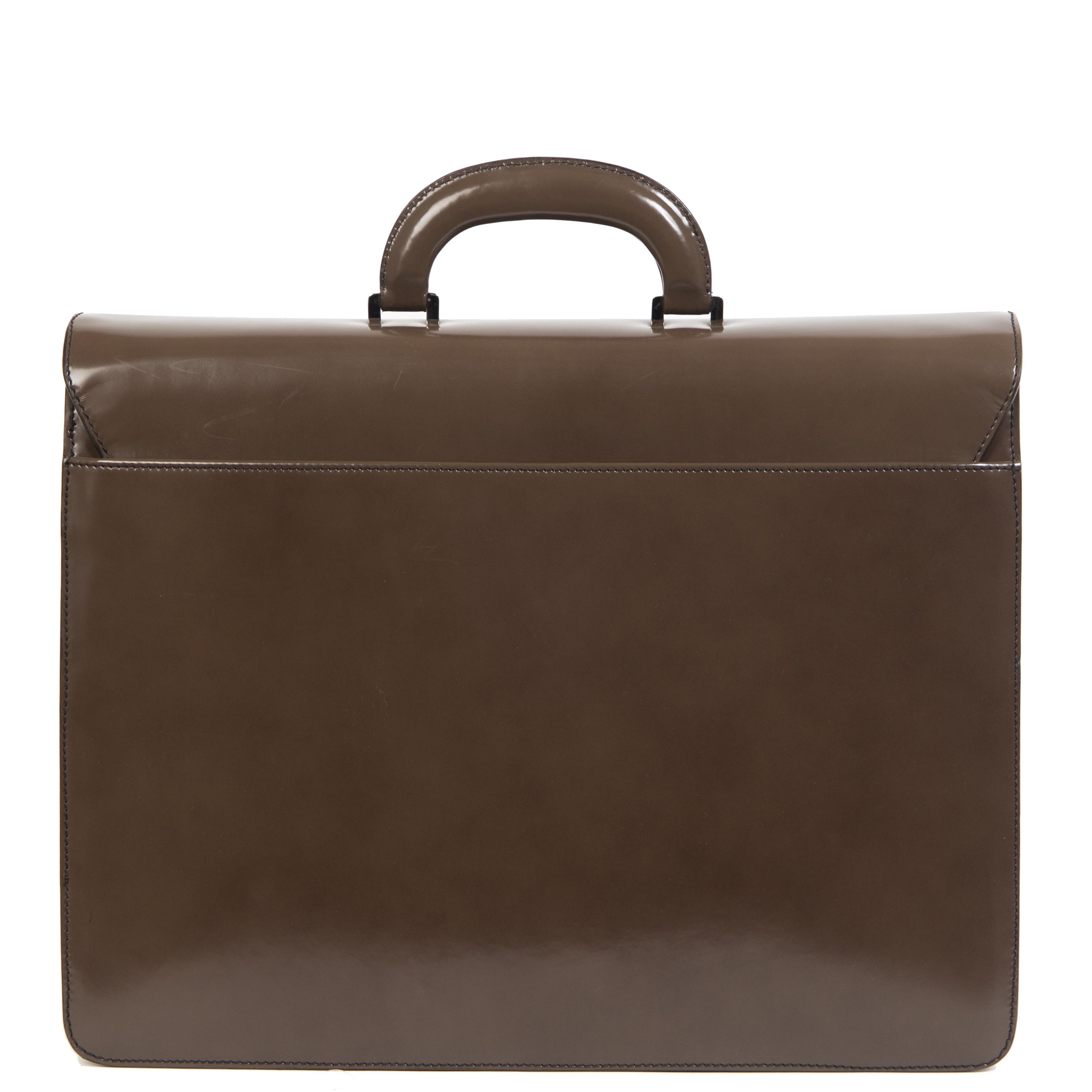 Authentieke Tweedehands Bally Brown Patent Leather Briefcase juiste prijs veilig online shoppen luxe merken webshop winkelen Antwerpen België mode fashion