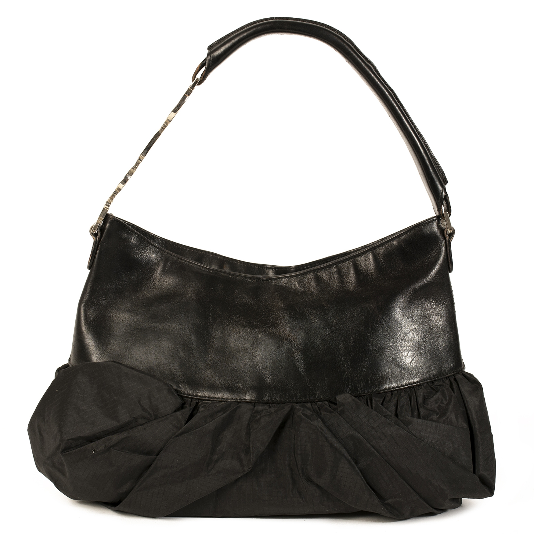 Authentieke Tweedehands Christian Dior Black Leather Bow Bag juiste prijs veilig online shoppen luxe merken webshop winkelen Antwerpen België mode fashion