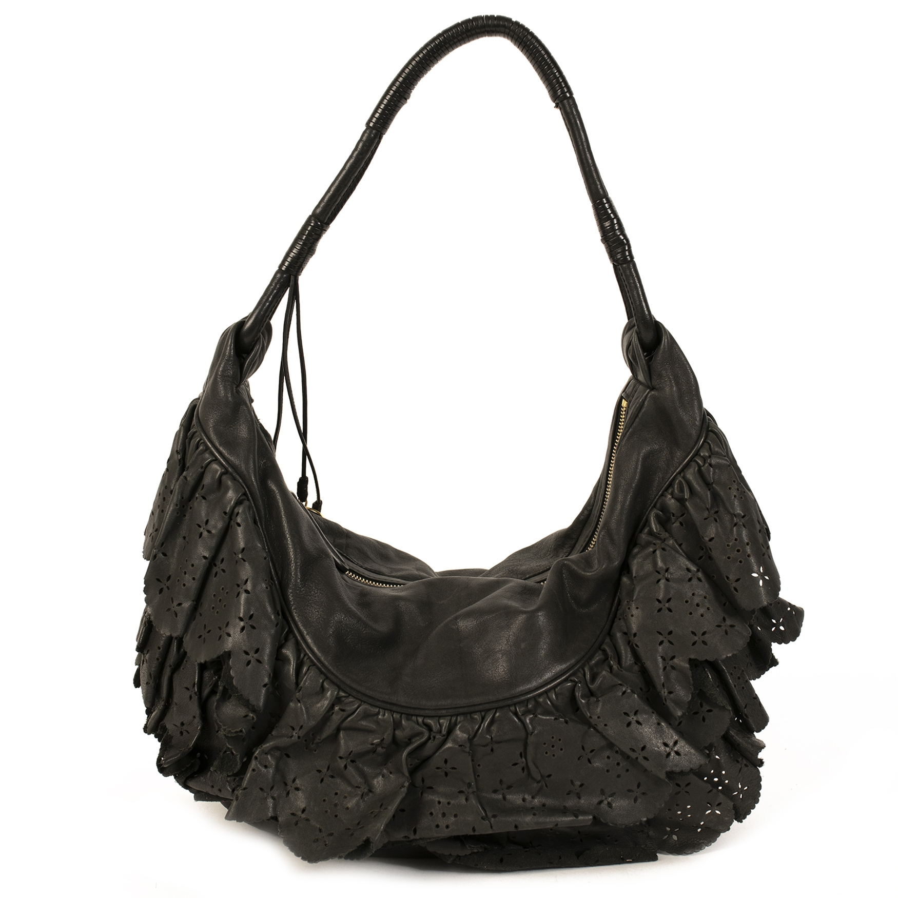 Dior Black Gypsy Ruffle Shoulder Bag