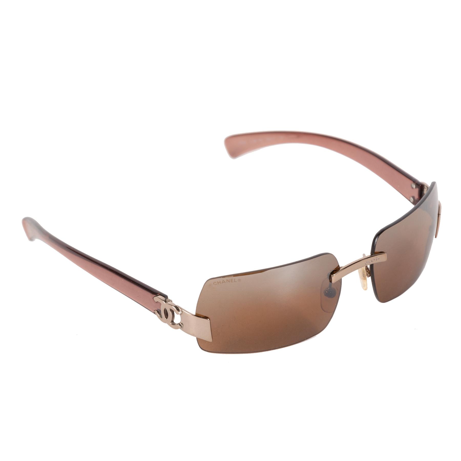 Authentieke Tweedehands Chanel Brown Silver Rimless Sunglasses juiste prijs veilig online shoppen luxe merken webshop winkelen Antwerpen België mode fashion
