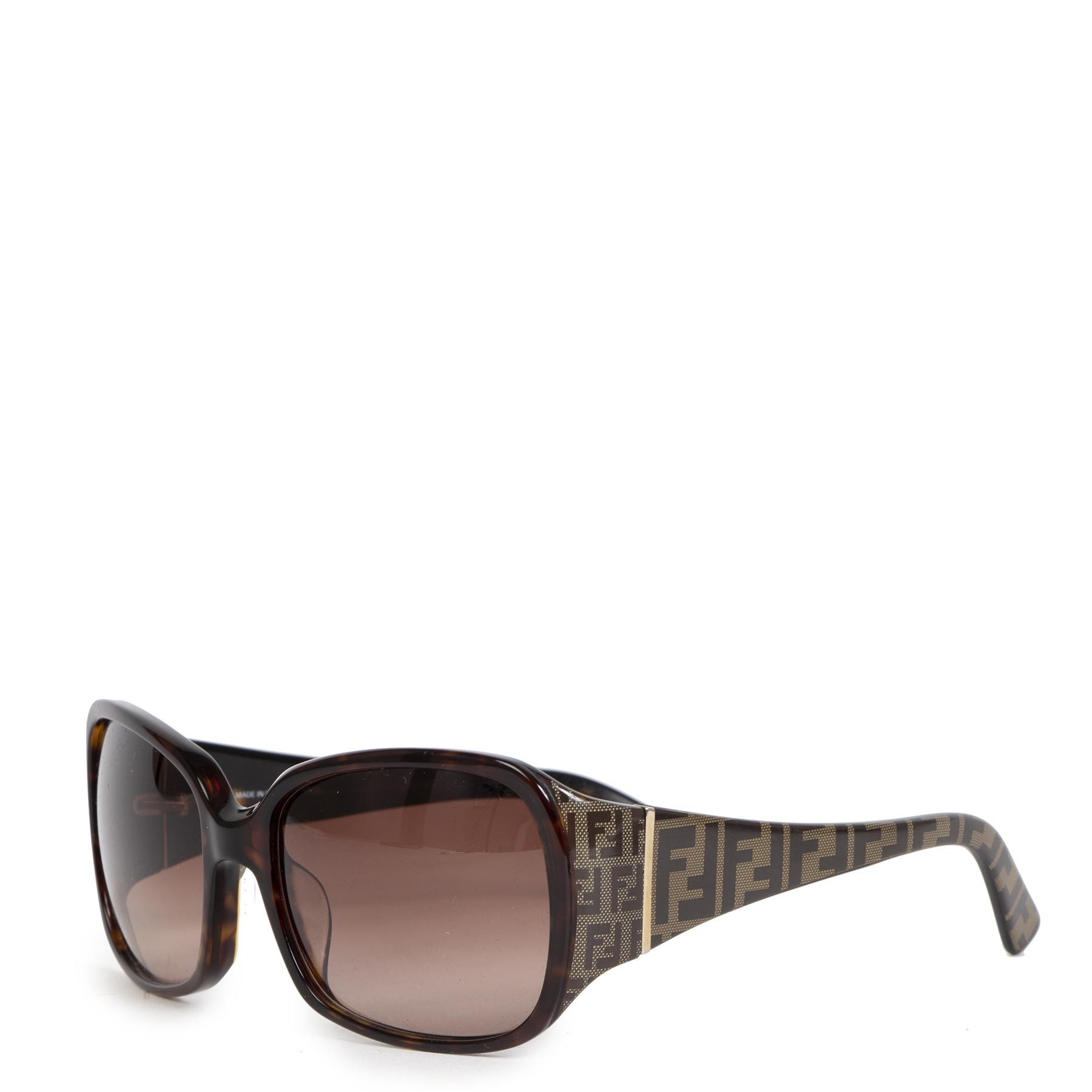 Authentieke Tweedehands Fendi Brown Monogram Tortoise Sunglasses juiste prijs veilig online shoppen luxe merken webshop winkelen Antwerpen België mode fashion
