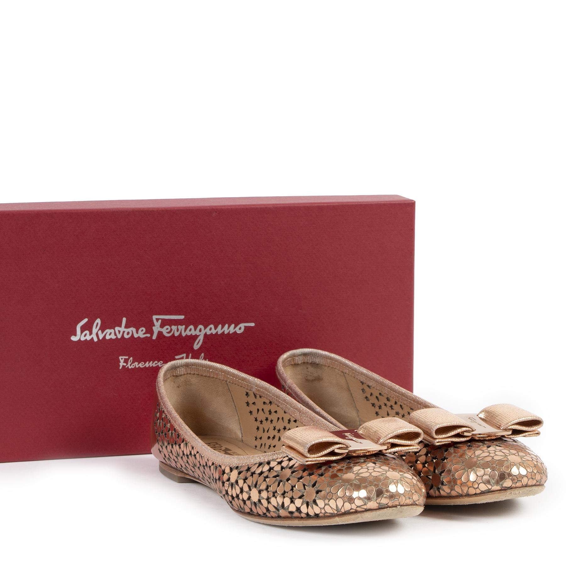 Authentic secondhand Salvatore Ferragamo Rose Gold Ballerinas - Size 38 designer shoes ballerina flats fashion luxury vintage webshop safe secure online shopping
