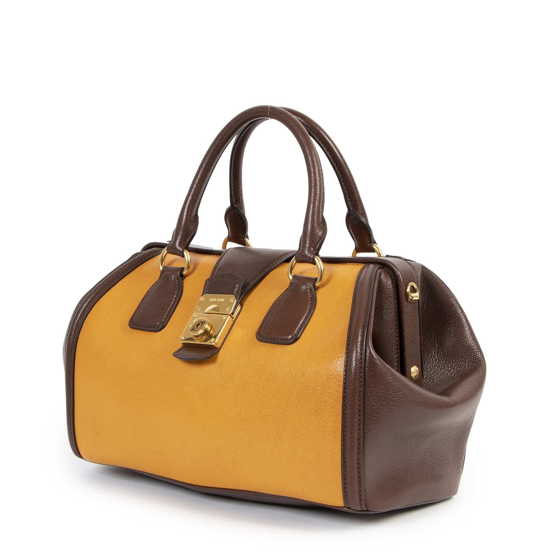 Miu Miu Yellow And Brown Madras Bicolore Top Handle Bag for the best price at Labellov secondhand luxury