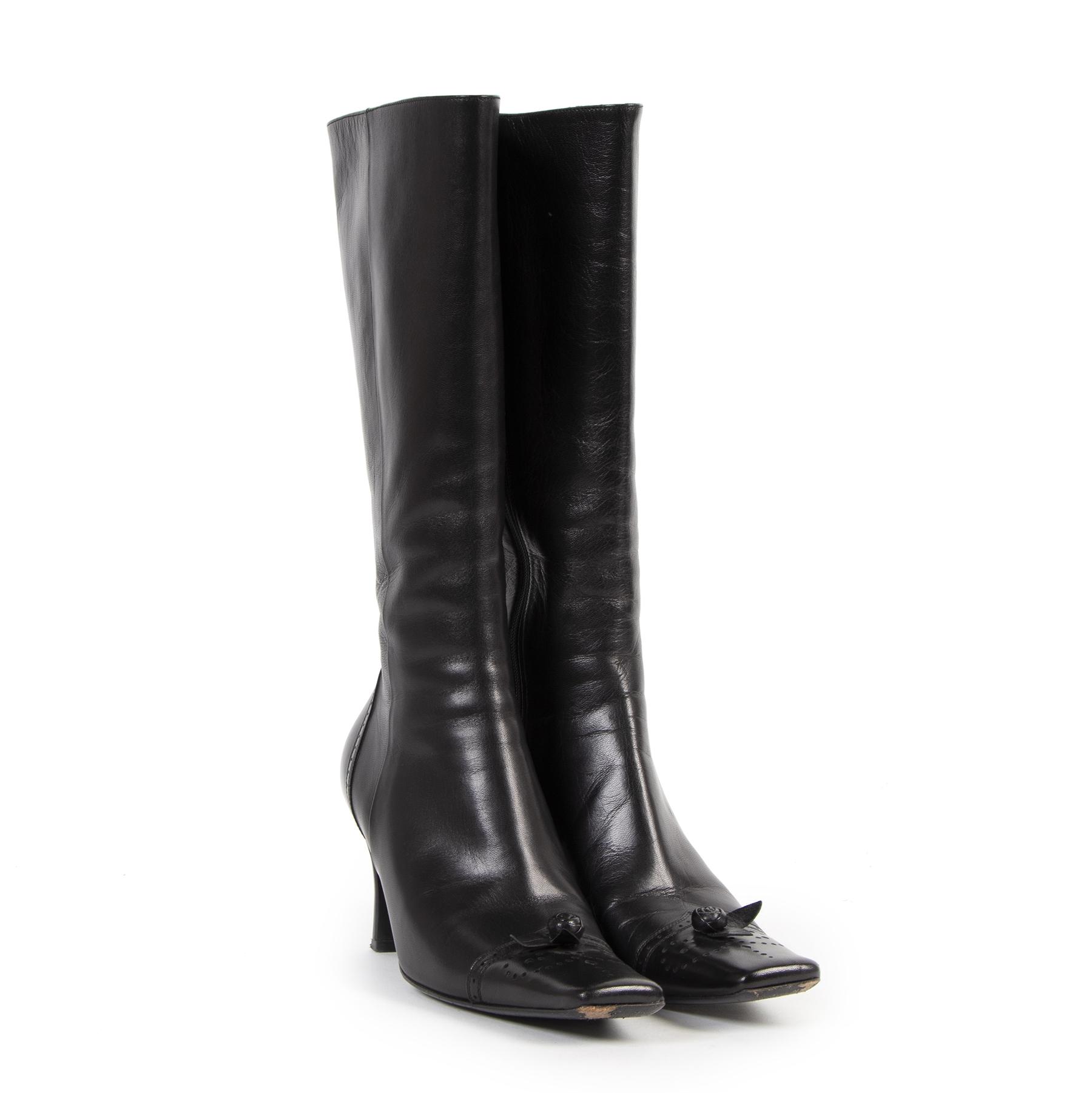 Authentieke Tweedehands Prada Black Leather Boots Square Tip Toe juiste prijs veilig online shoppen luxe merken webshop winkelen Antwerpen België mode fashion