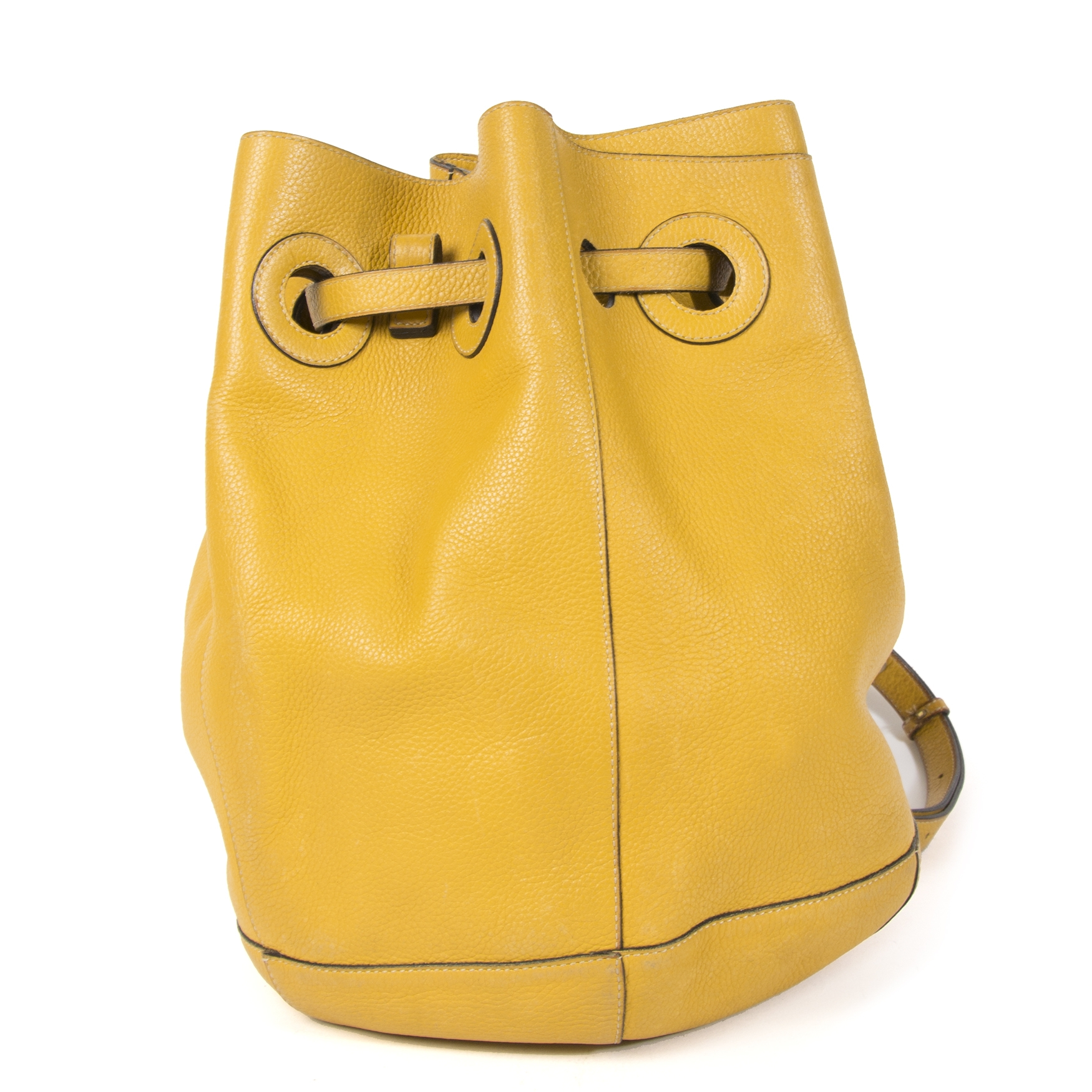 Authentieke Tweedehands Delvaux Ochre Yellow Leather Bucket Bag juiste prijs veilig online shoppen luxe merken webshop winkelen Antwerpen België mode fashion