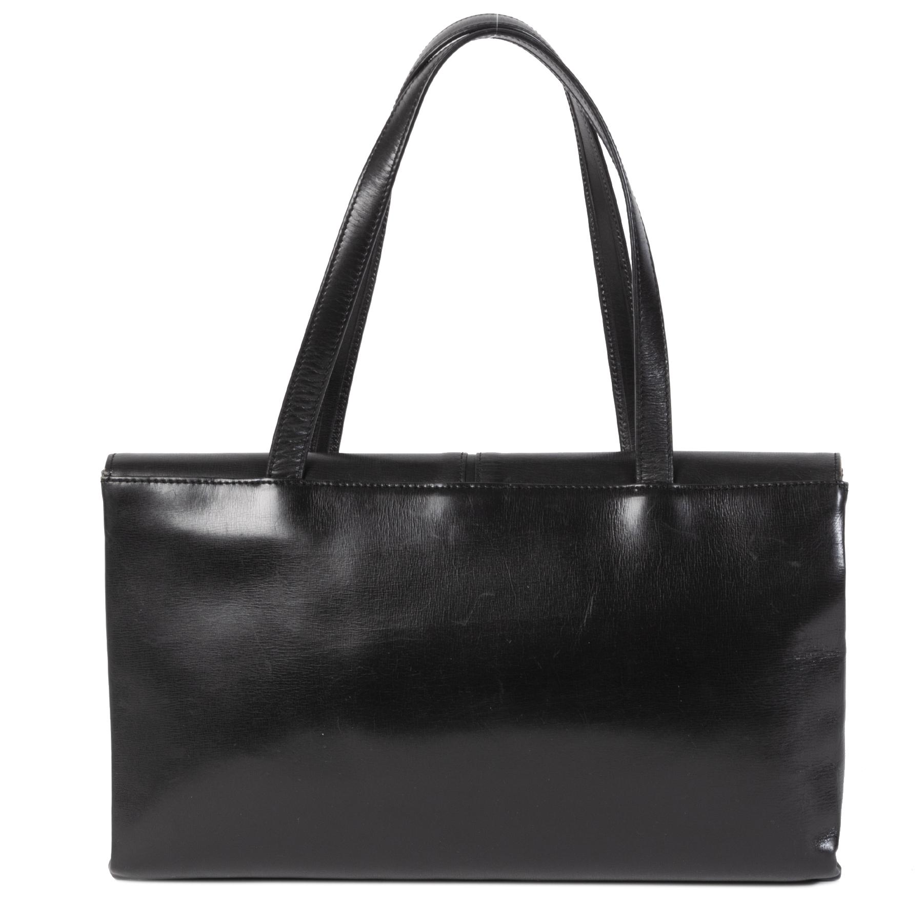 Authentieke Tweedehands Delvaux Vintage Black Shoulder Bag juiste prijs veilig online shoppen luxe merken webshop winkelen Antwerpen België mode fashion