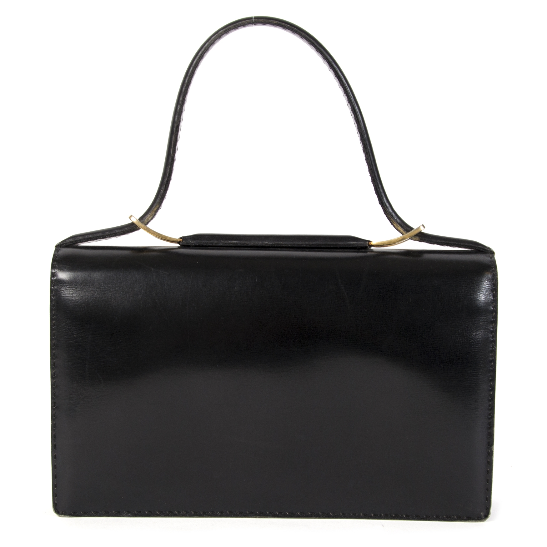 Buy and sell your authentic Delvaux Black Leather Top Handle Bag for the best price