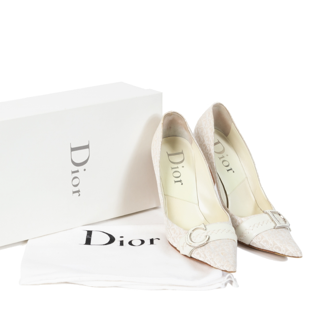 Christian Dior Beige Monogram Canvas Pointed Heels - Size 39,5