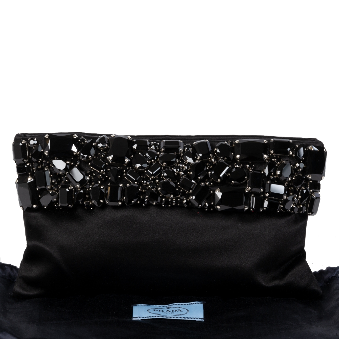 Prada Black Raso Jeweled Satin Clutch