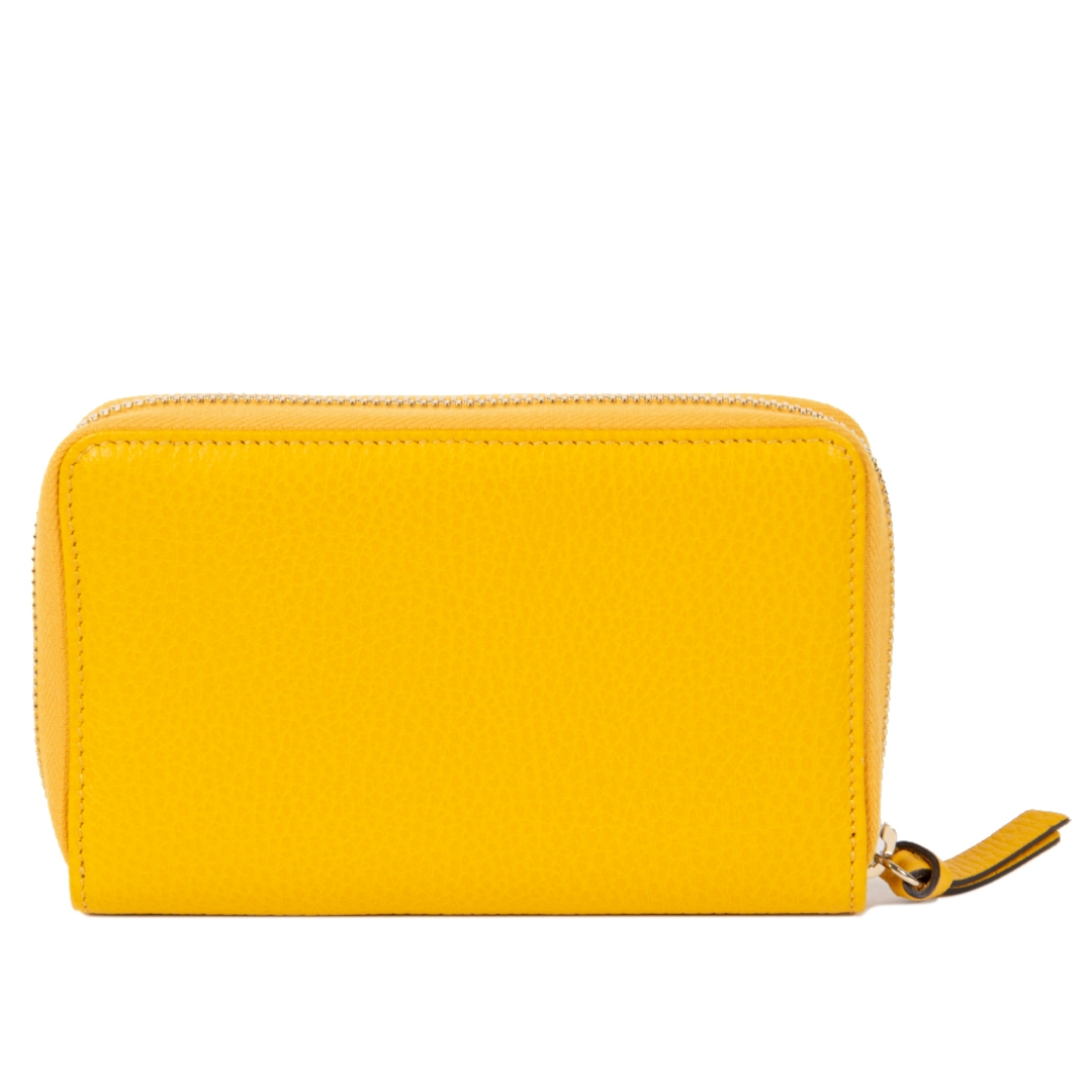 Authentic second-hand vintage Gucci Yellow Swing Zip Around Wallet buy online webshop LabelLOV