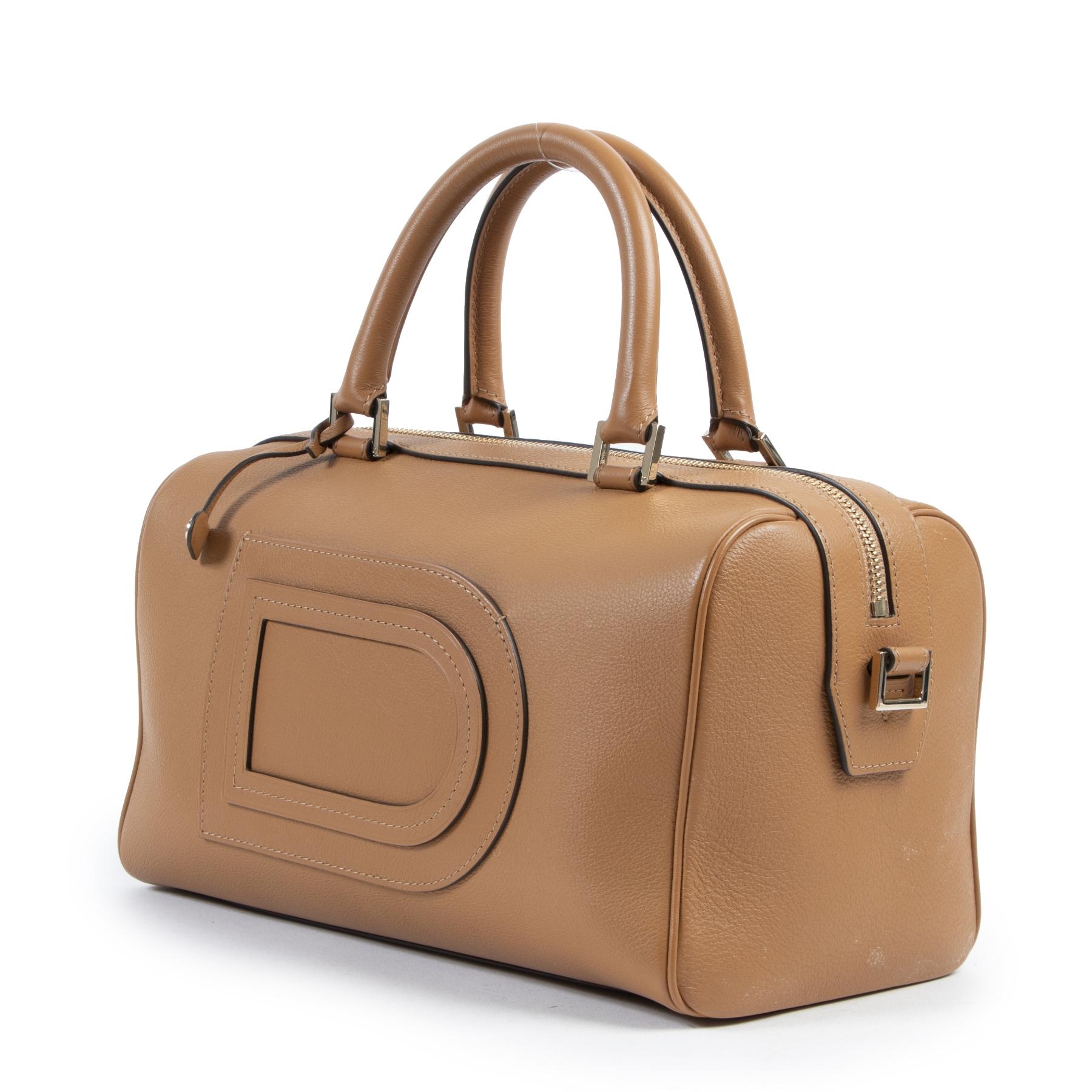 Delvaux Cognac Leather Boston Bag  shop safe online secondhand