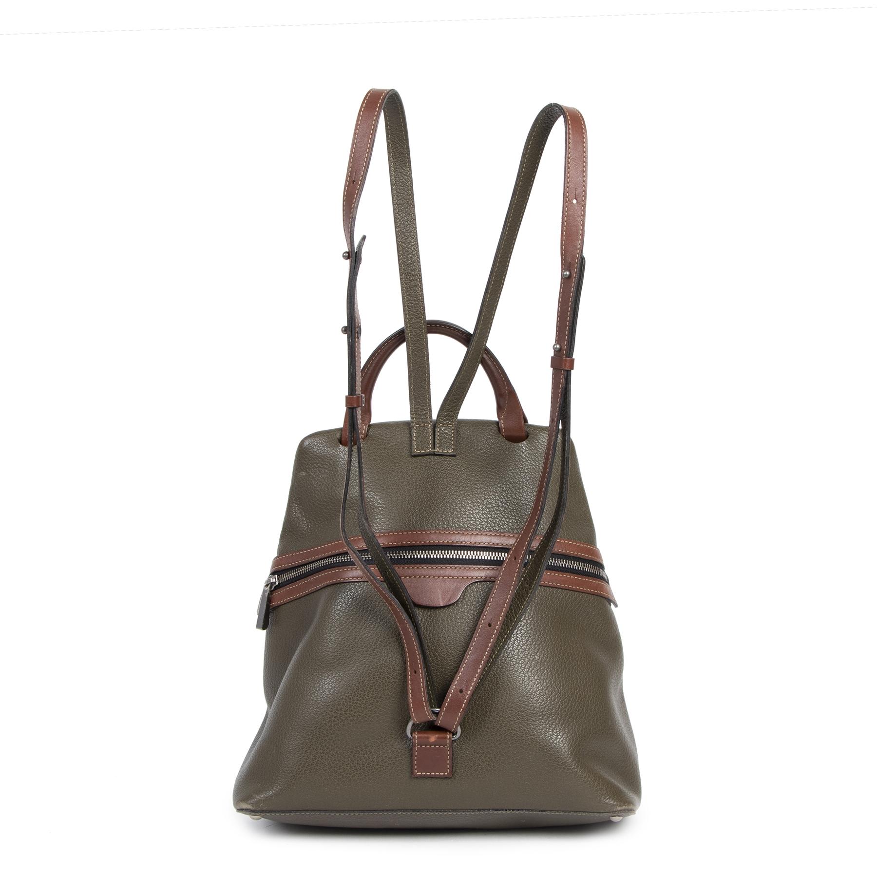 Authentique seconde-main vintage Deux De Delvaux Green Backpack achète en ligne webshop LabelLOV