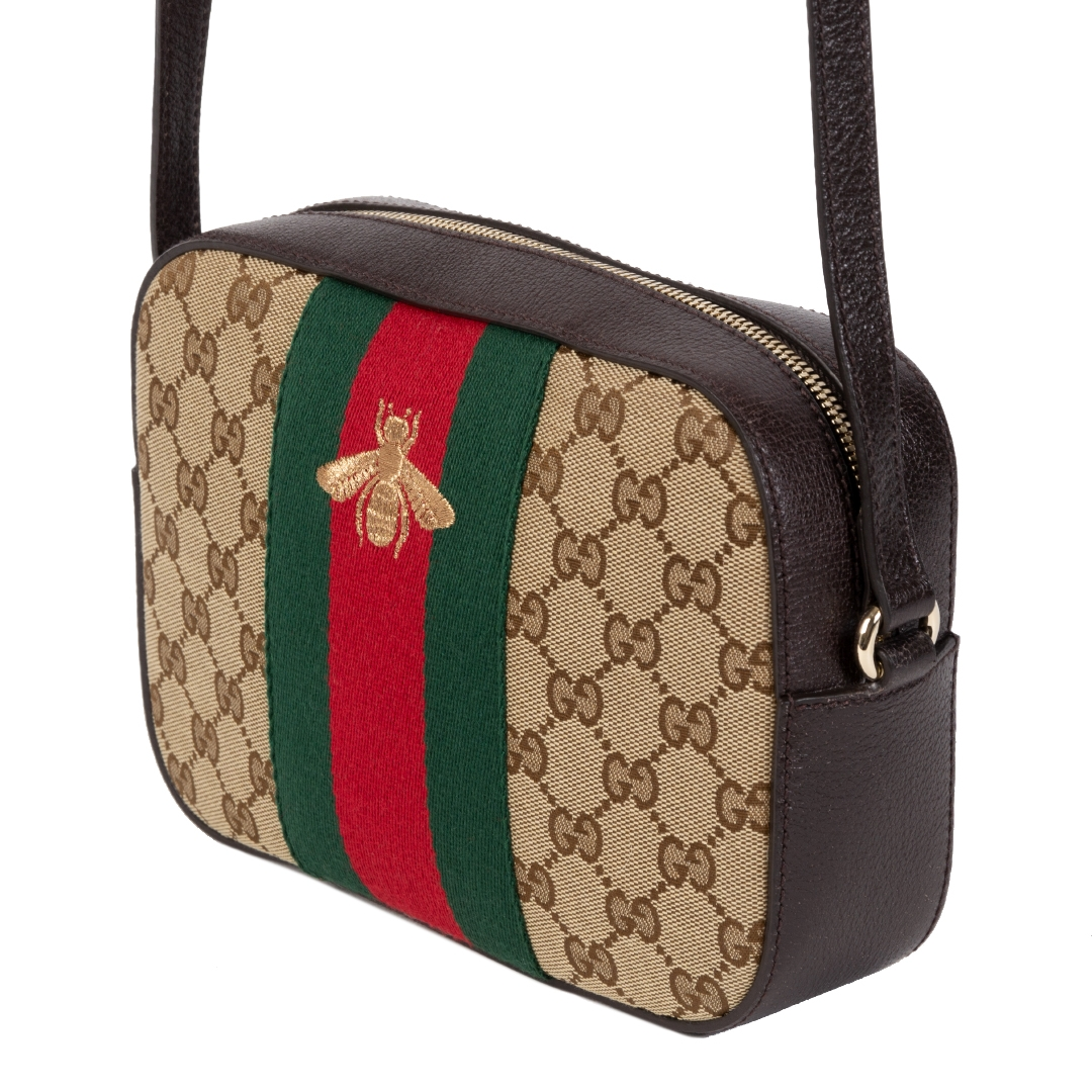 Gucci Monogram GG Supreme Web Small Webby Bee Shoulder Bag