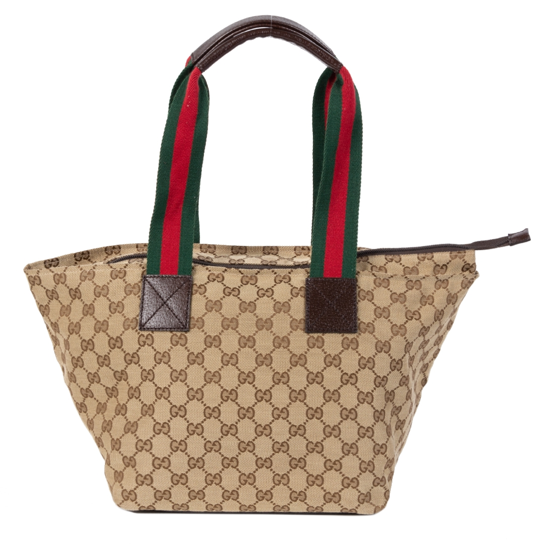 acheter en ligne seconde main Gucci Monogram Canvas Sherry Line Tote Bag