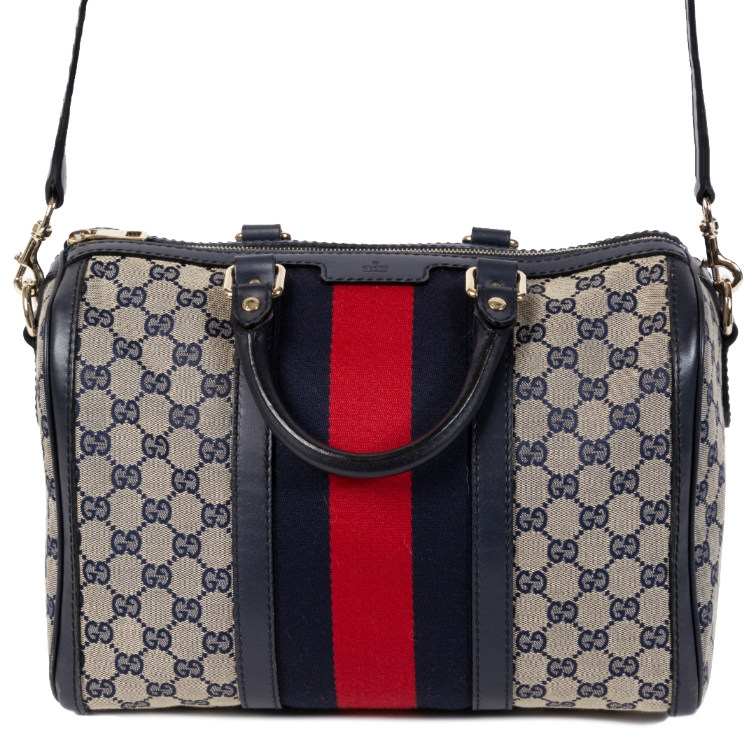 Authentieke tweedehands vintage Gucci Vintage Web Boston Bag GG Canvas Medium koop online webshop LabelLOV