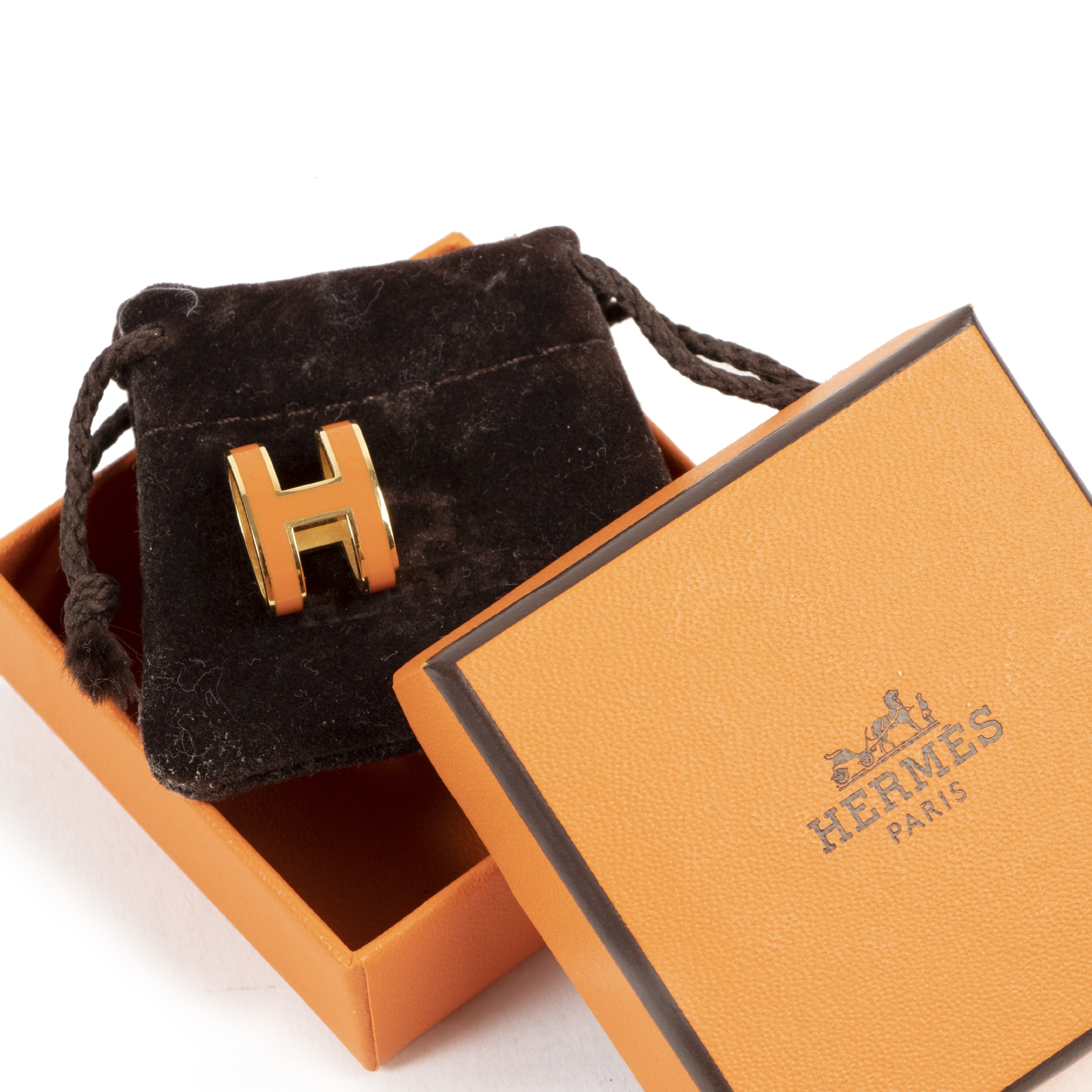 Buy and sell 100% authentic Hermes Orange Gold Pop H Pendant