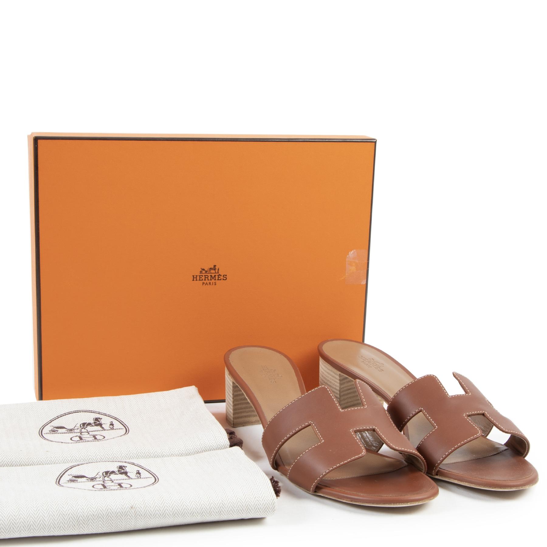 Authentic secondhand Hermes Gold Oasis Sandals - size 41 designer sandals shoes fashion luxury vintage webshop safe secure online shopping