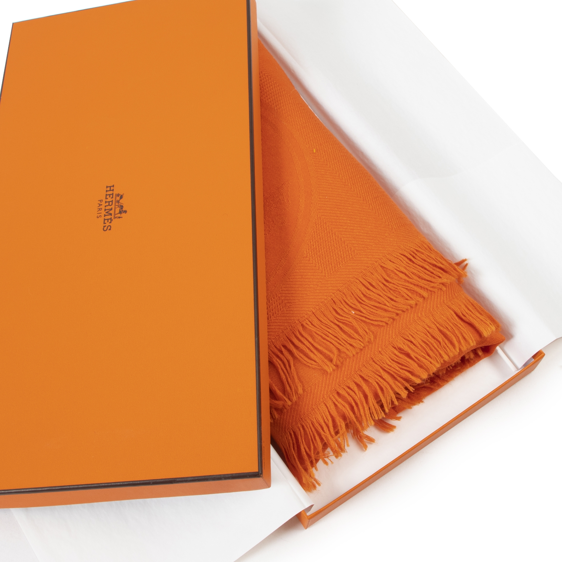 Authentic secondhand Hermès Orange New Libris Cashmere Stole