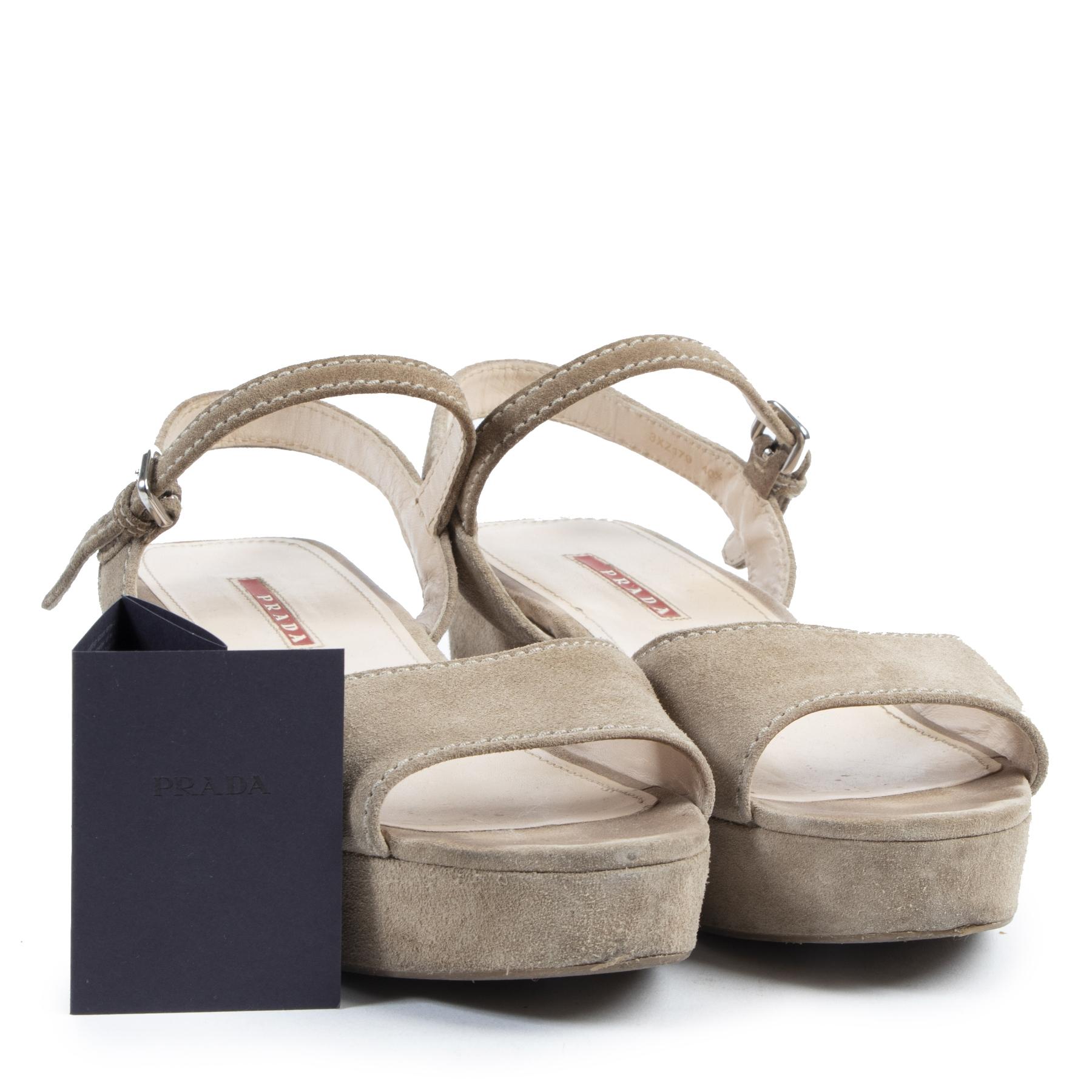 Authentieke tweedehands vintage Prada Suede Espadrille Wedges Sandals - Size 40,5 koop online webshop LabelLOV