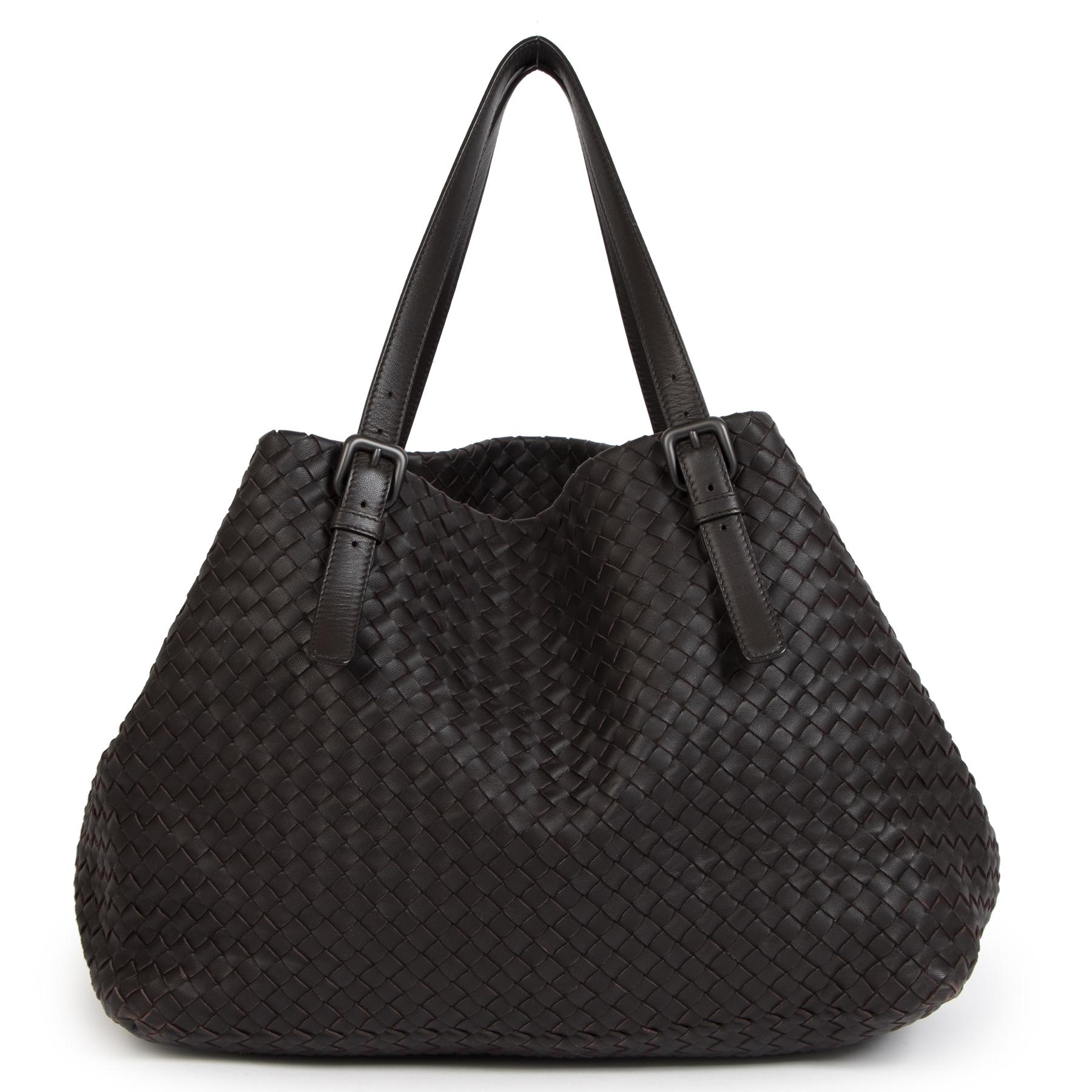 Authentieke Tweedehands Bottega Veneta Dark Brown Leather Tote Bag juiste prijs veilig online shoppen luxe merken webshop winkelen Antwerpen België mode fashion