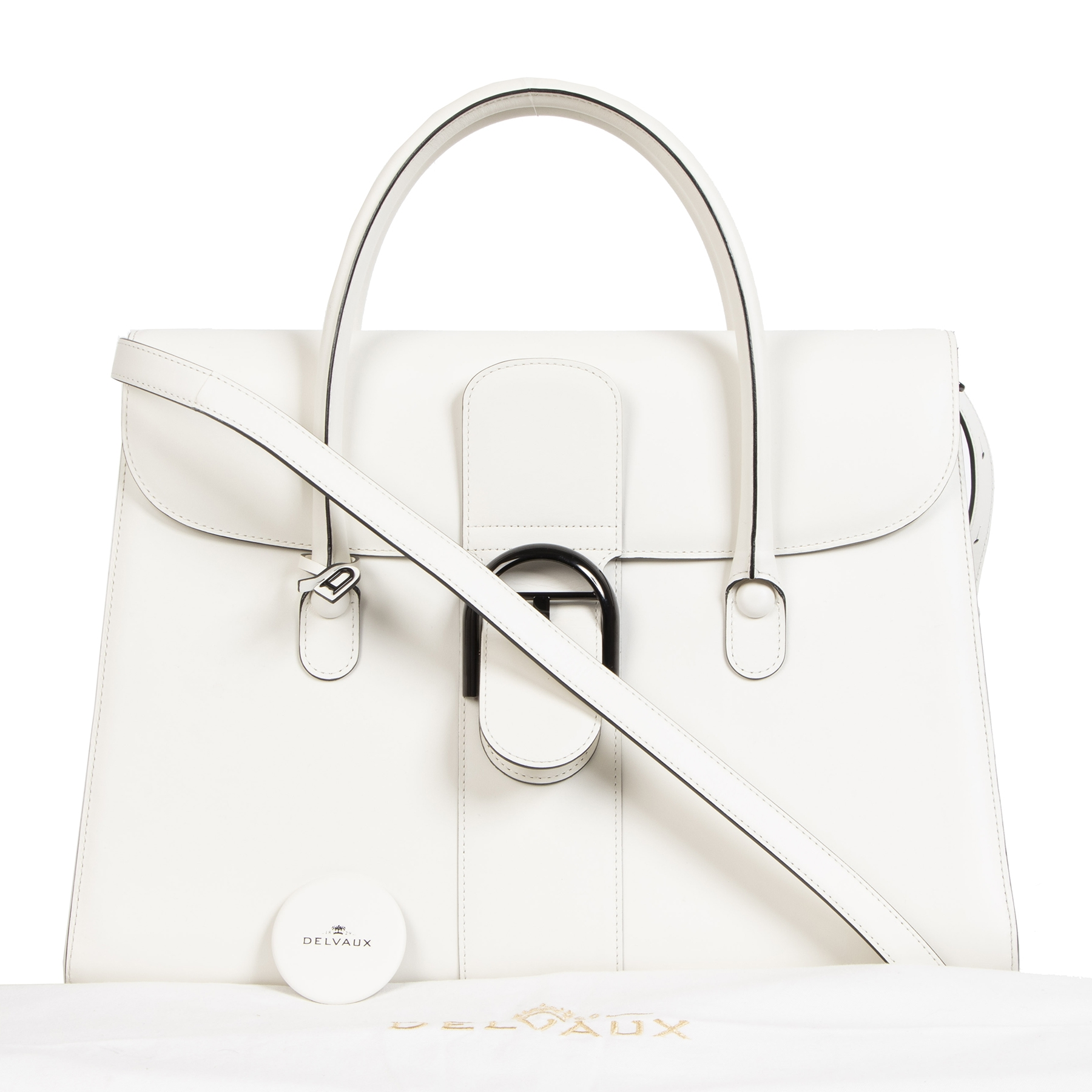 Delvaux White Brillant Double Poignee Bag in excellent condition online available