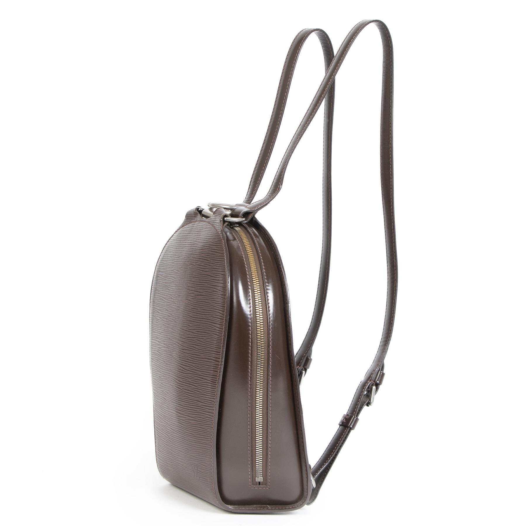 Authentieke Tweedehands Louis Vuitton Moka Epi Leather Mabillon Backpack juiste prijs veilig online shoppen luxe merken webshop winkelen Antwerpen België mode fashion